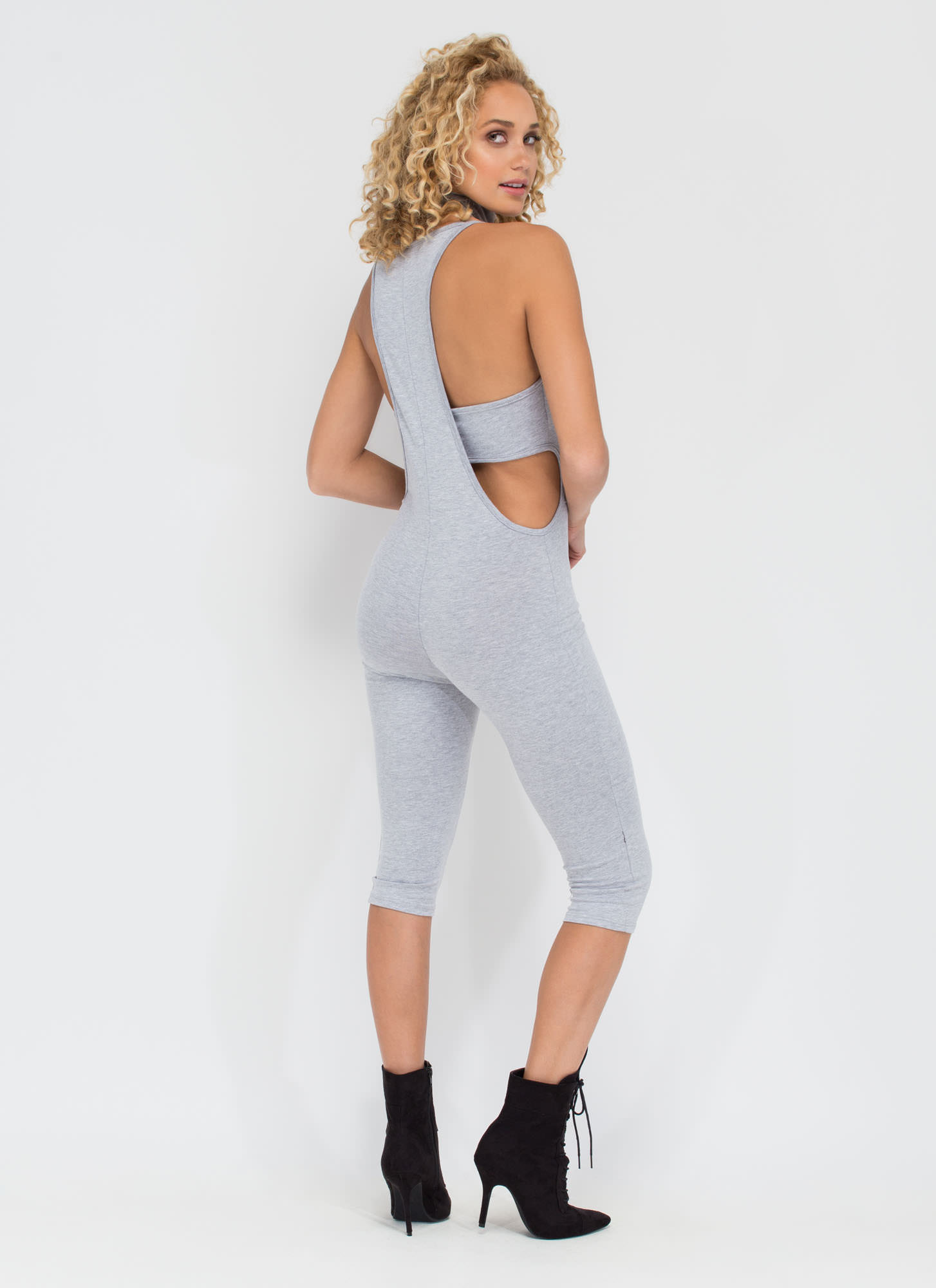 Rise To Power Cut-Out Romper HGREY