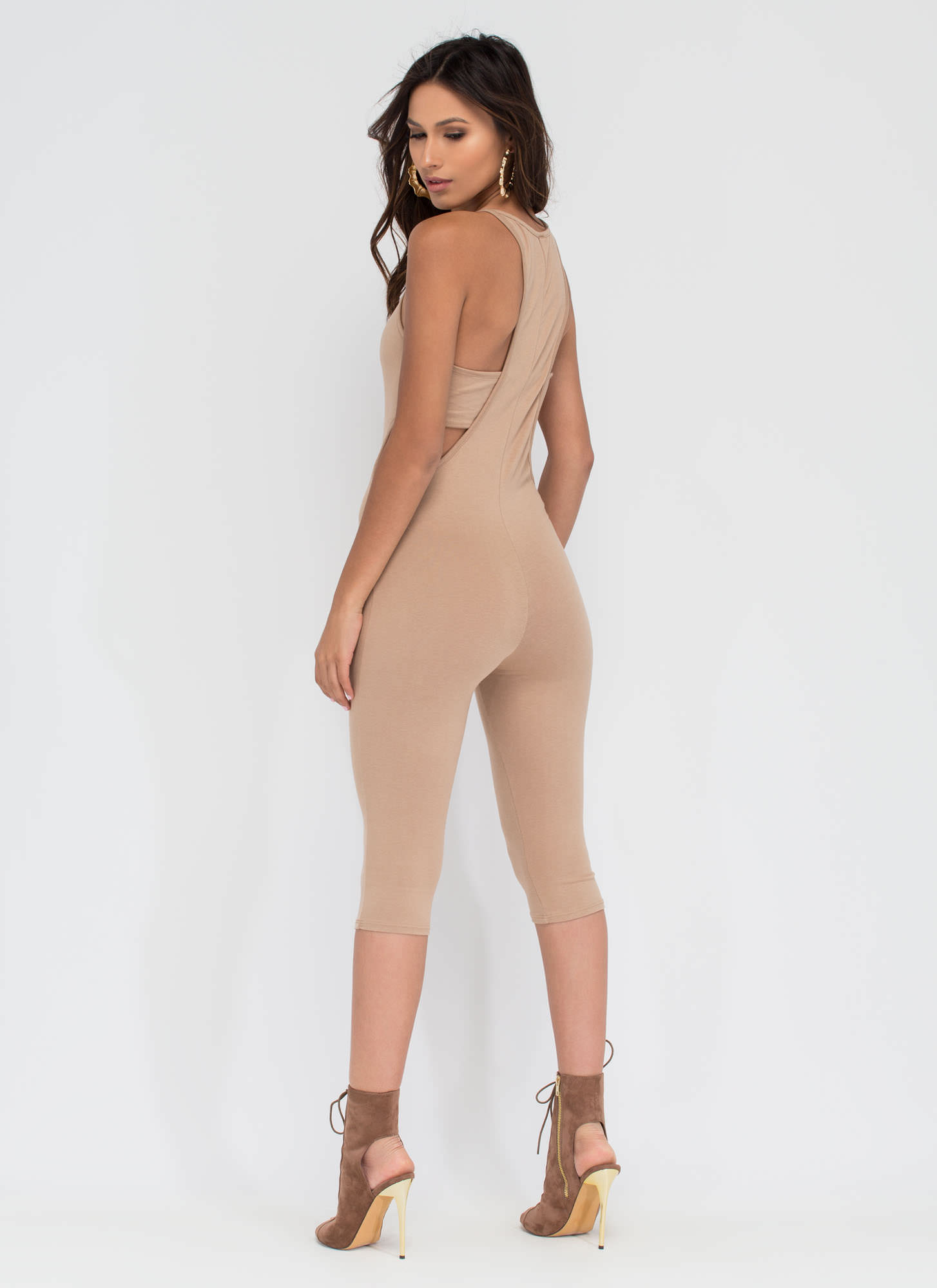 Rise To Power Cut-Out Romper NUDE