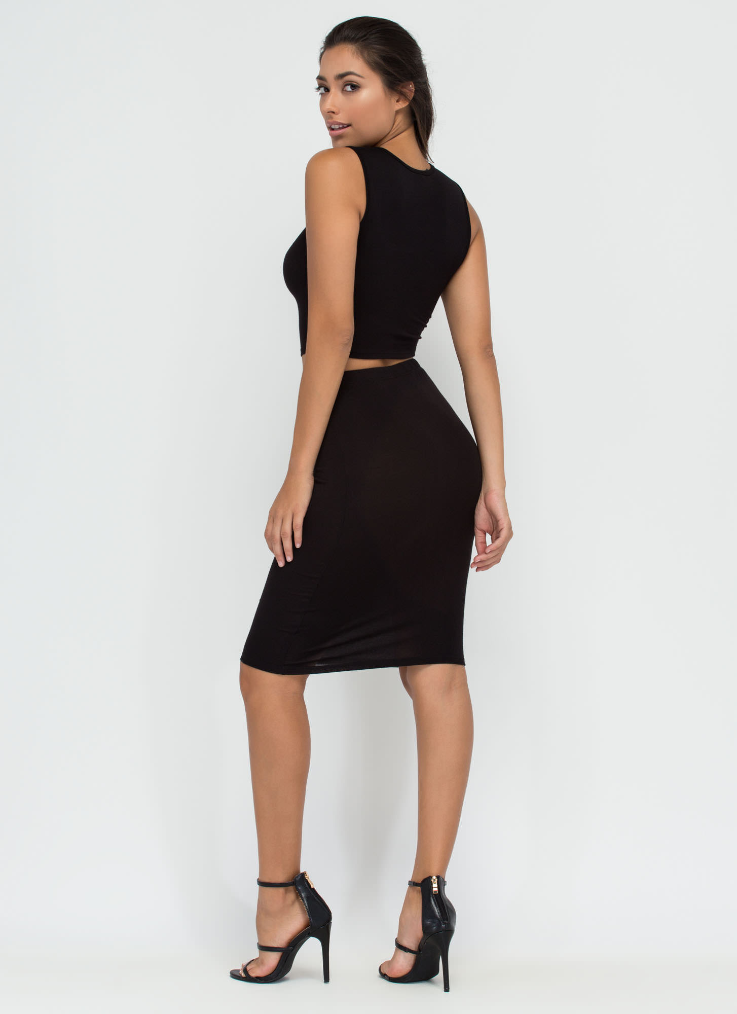 Capture Your Heart Two-Piece Midi Dress BLACK
