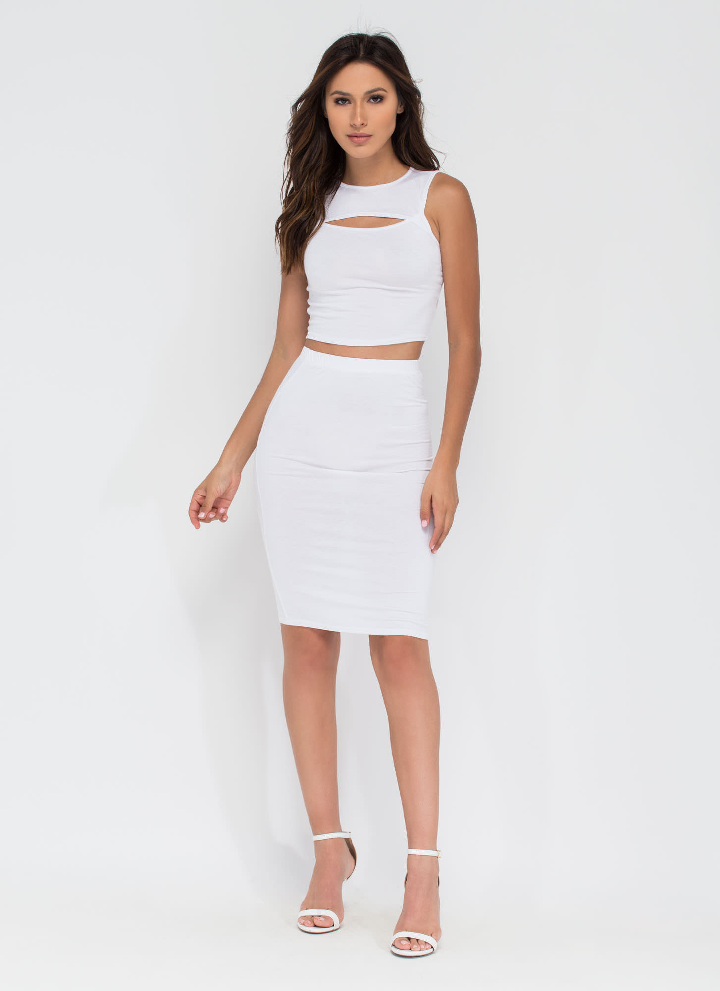 Capture Your Heart Two-Piece Midi Dress WHITE