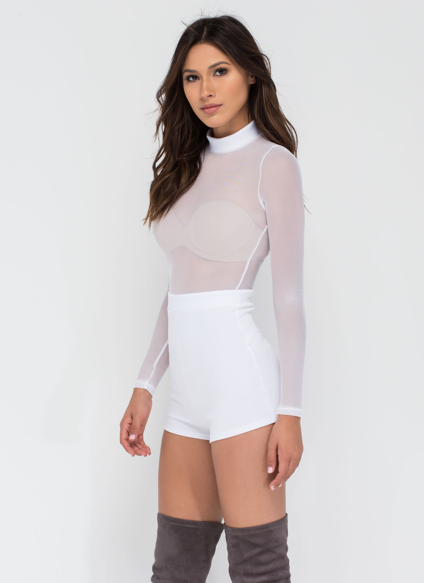 Sheer Me Now Mockneck Romper WHITE