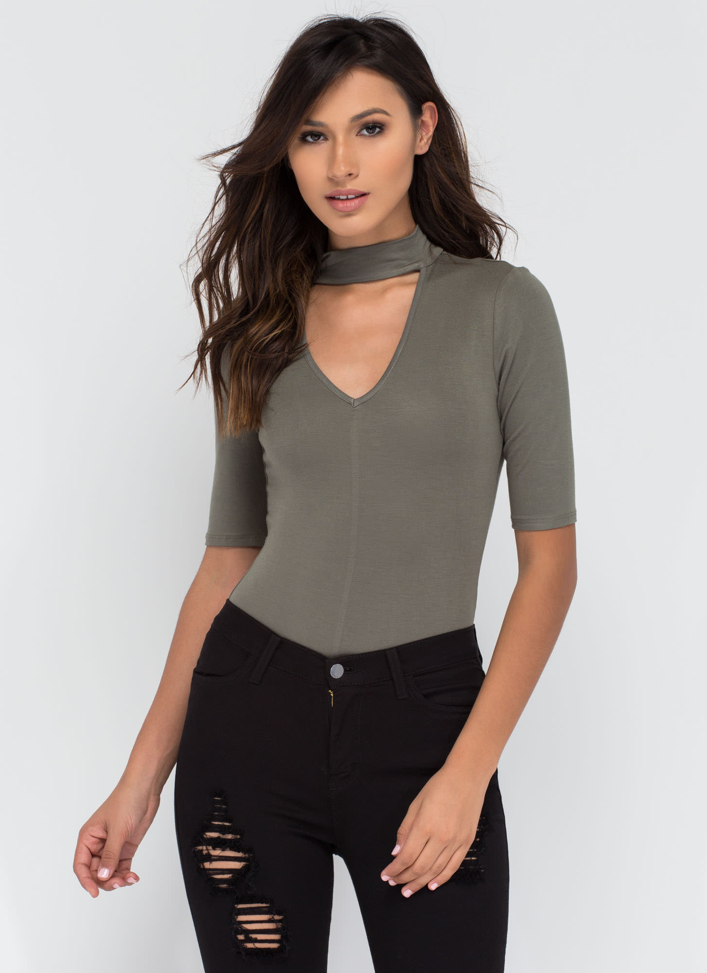 Secret Reveal Cut-Out Bodysuit OLIVE