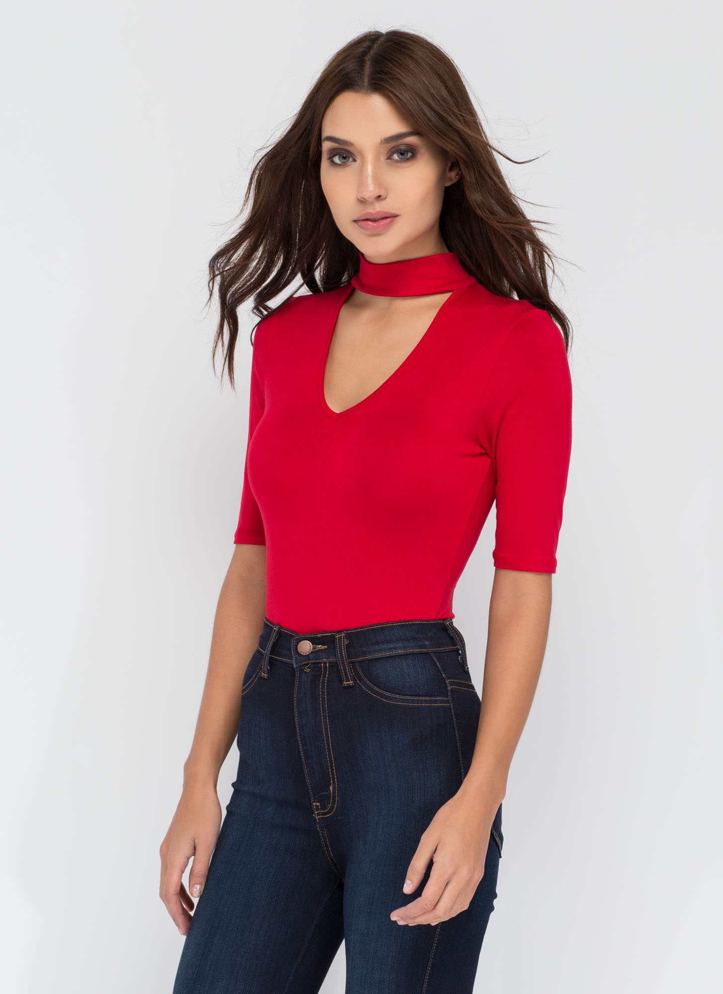 Secret Reveal Cut-Out Bodysuit RED