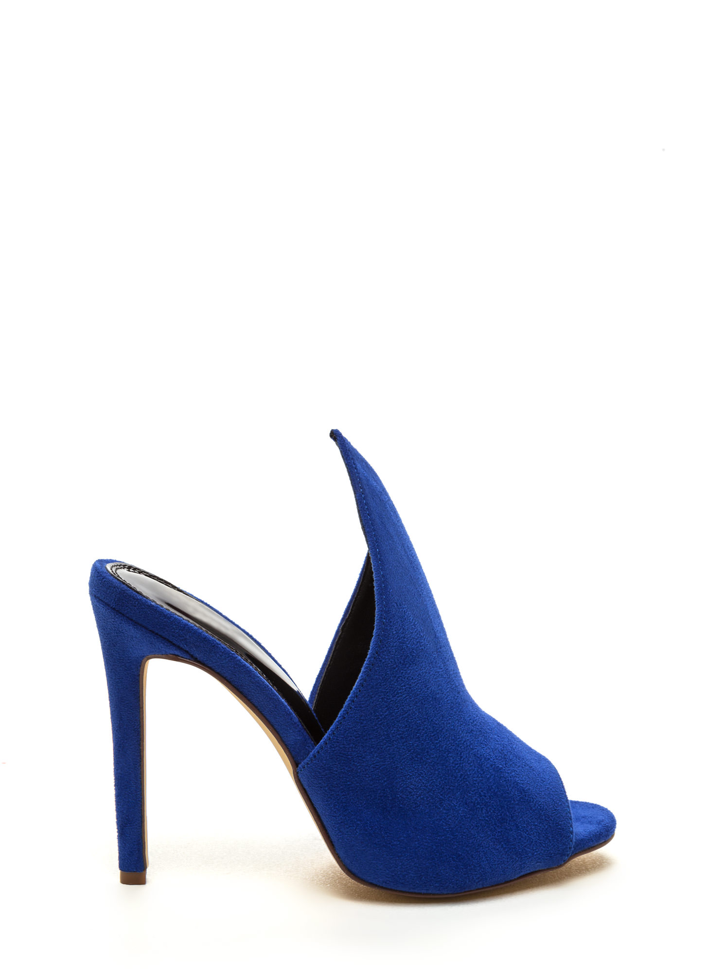 To The Point Faux Suede Mule Heels BLUE (Final Sale)