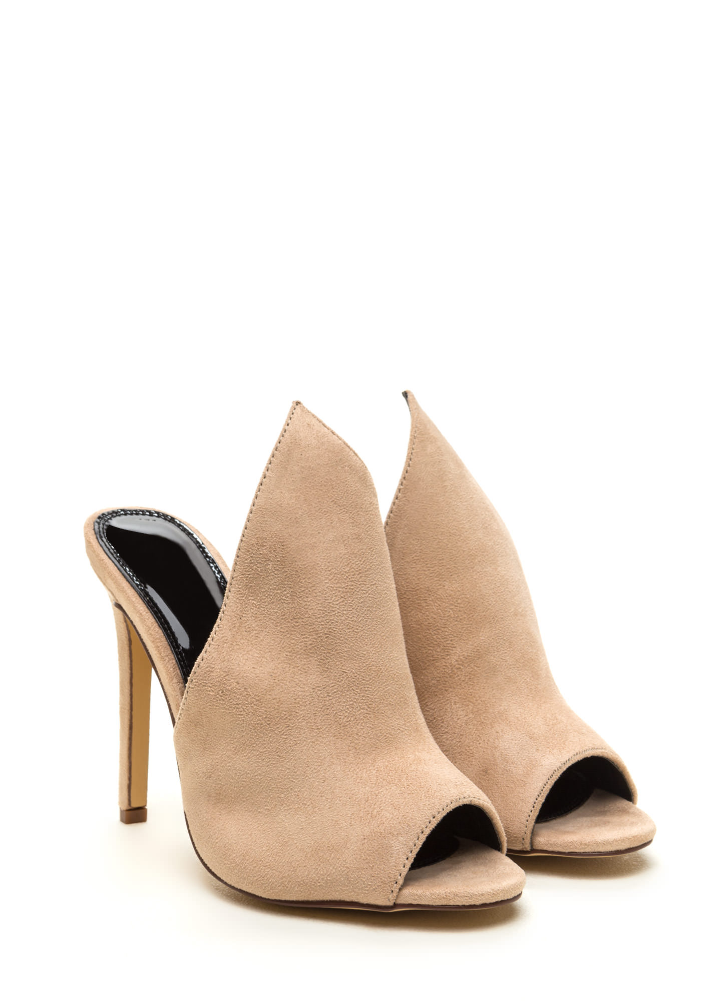 To The Point Faux Suede Mule Heels NUDE