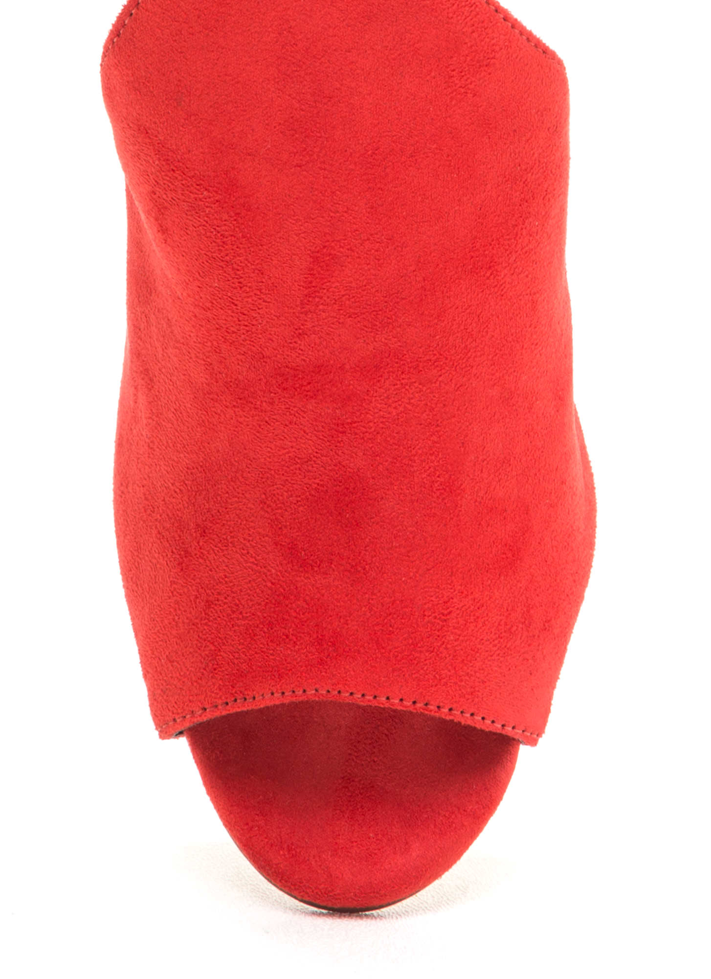 To The Point Faux Suede Mule Heels RED (Final Sale)