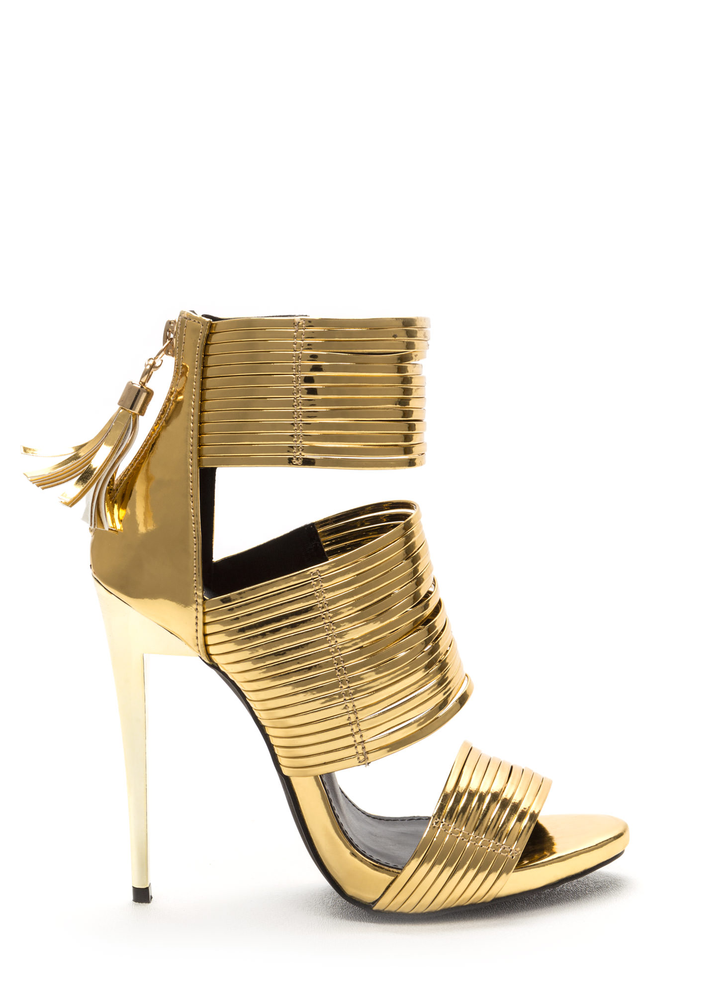Dusk To Dawn Strappy Metallic Heels GOLD