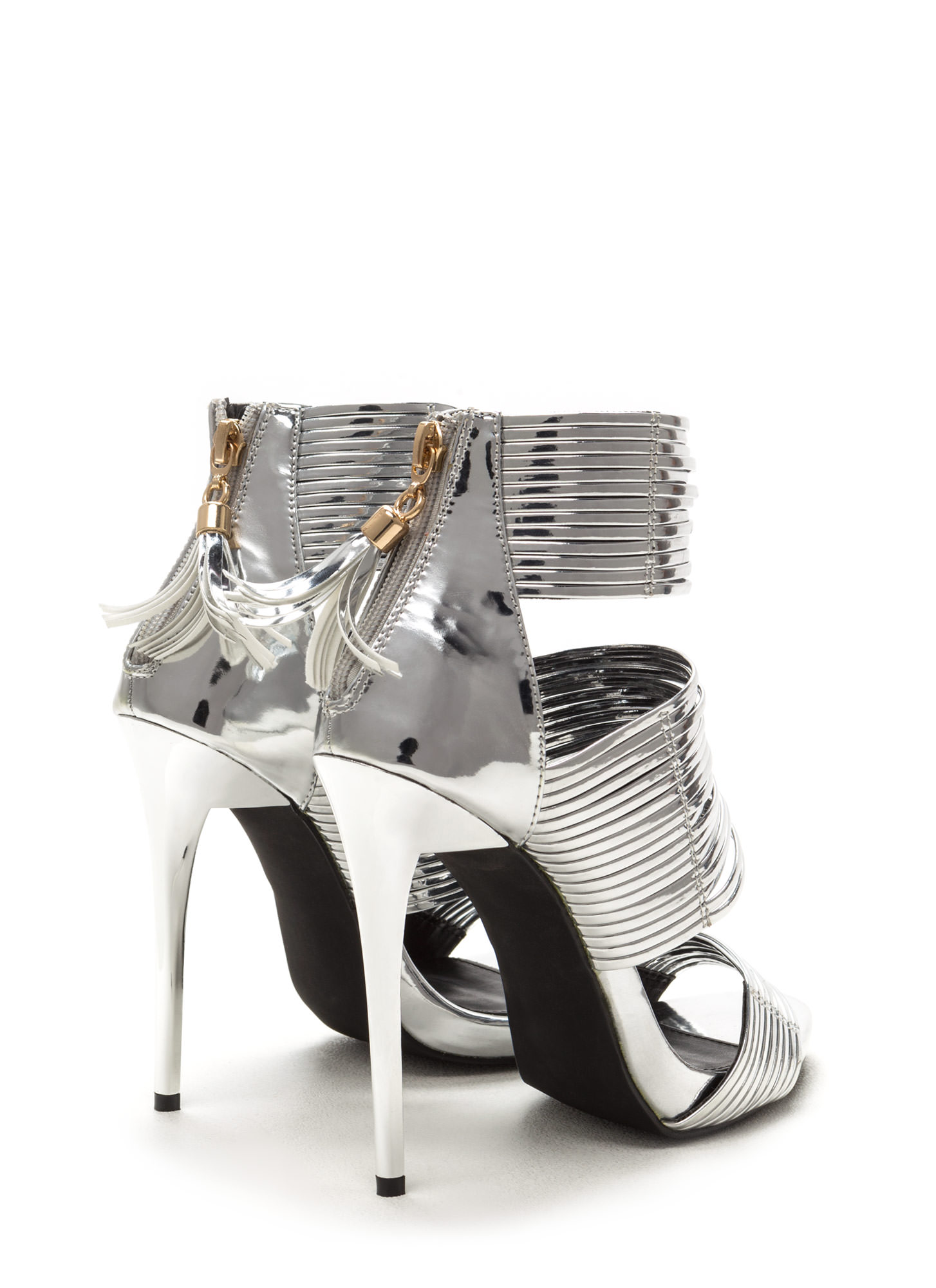 Dusk To Dawn Strappy Metallic Heels SILVER