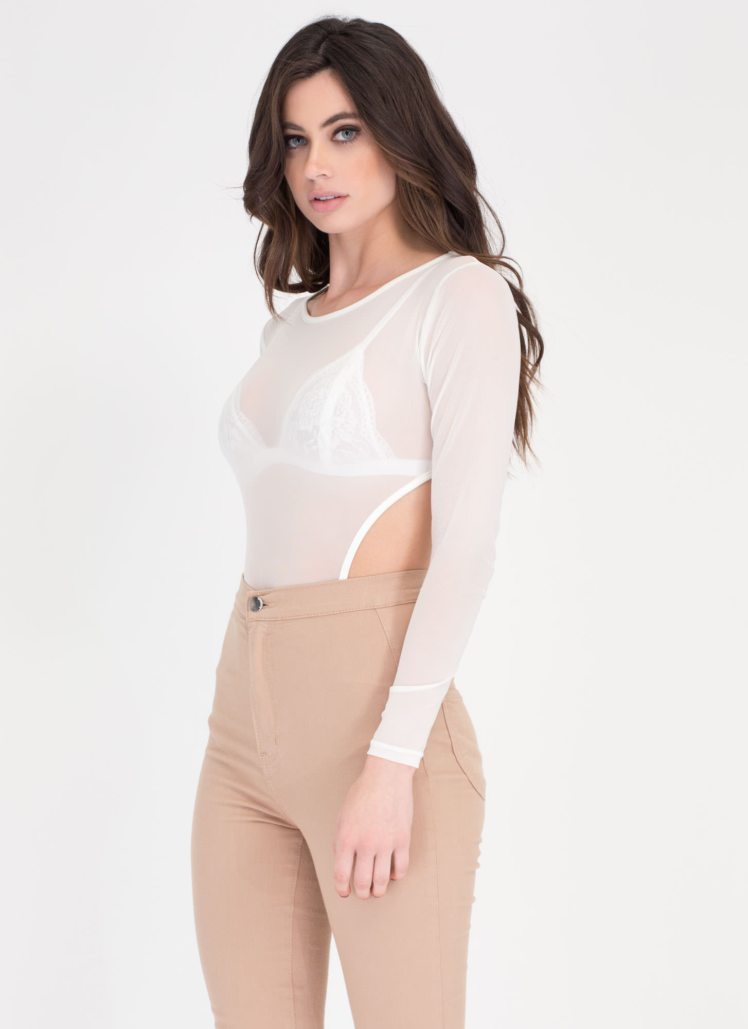 Sheer Genius Cut-Out Bodysuit WHITE
