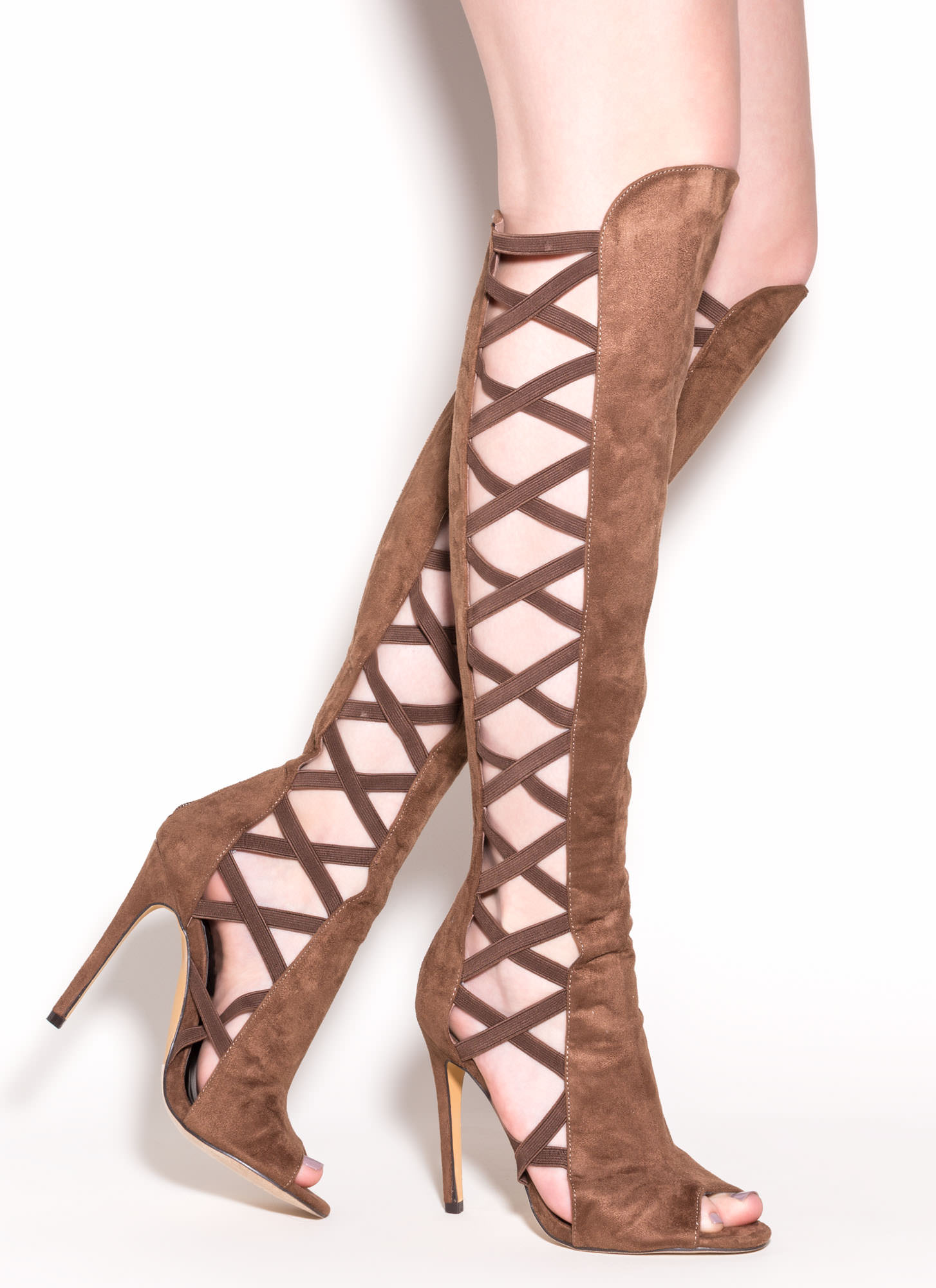 X-Cellent Style Faux Suede Heeled Boots TAUPE (Final Sale)