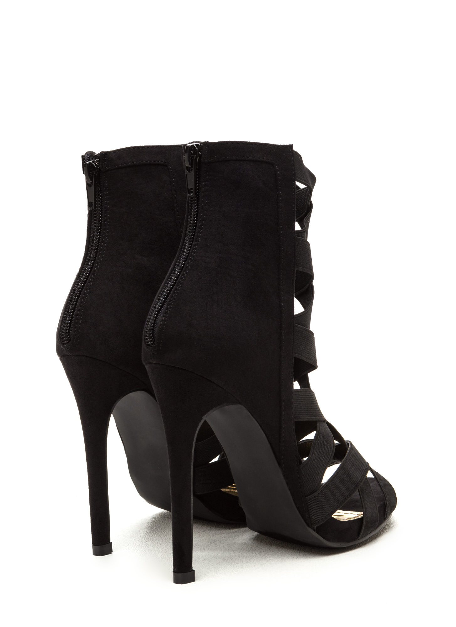 Night Life Caged Faux Suede Heels BLACK