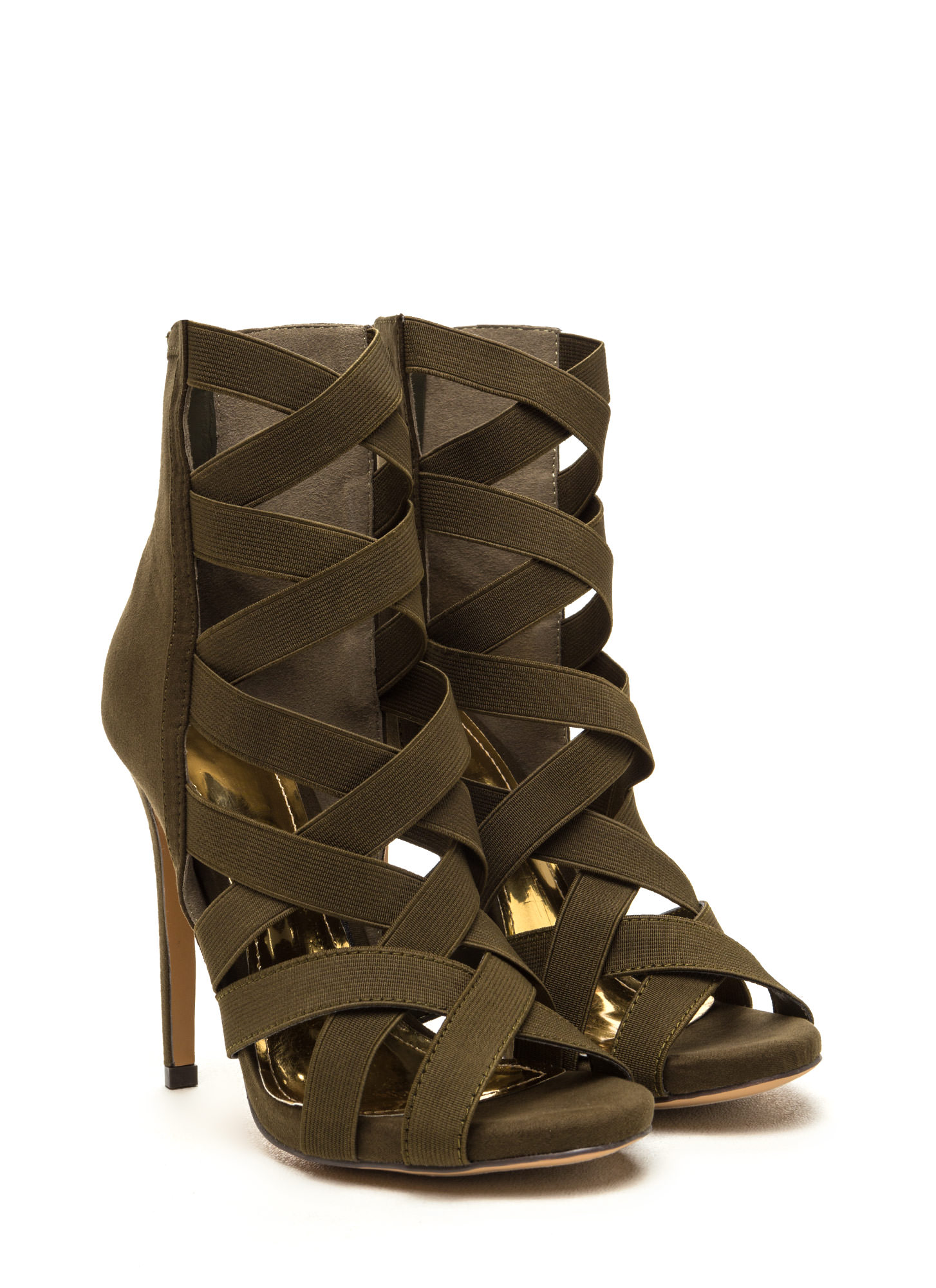 Night Life Caged Faux Suede Heels OLIVE