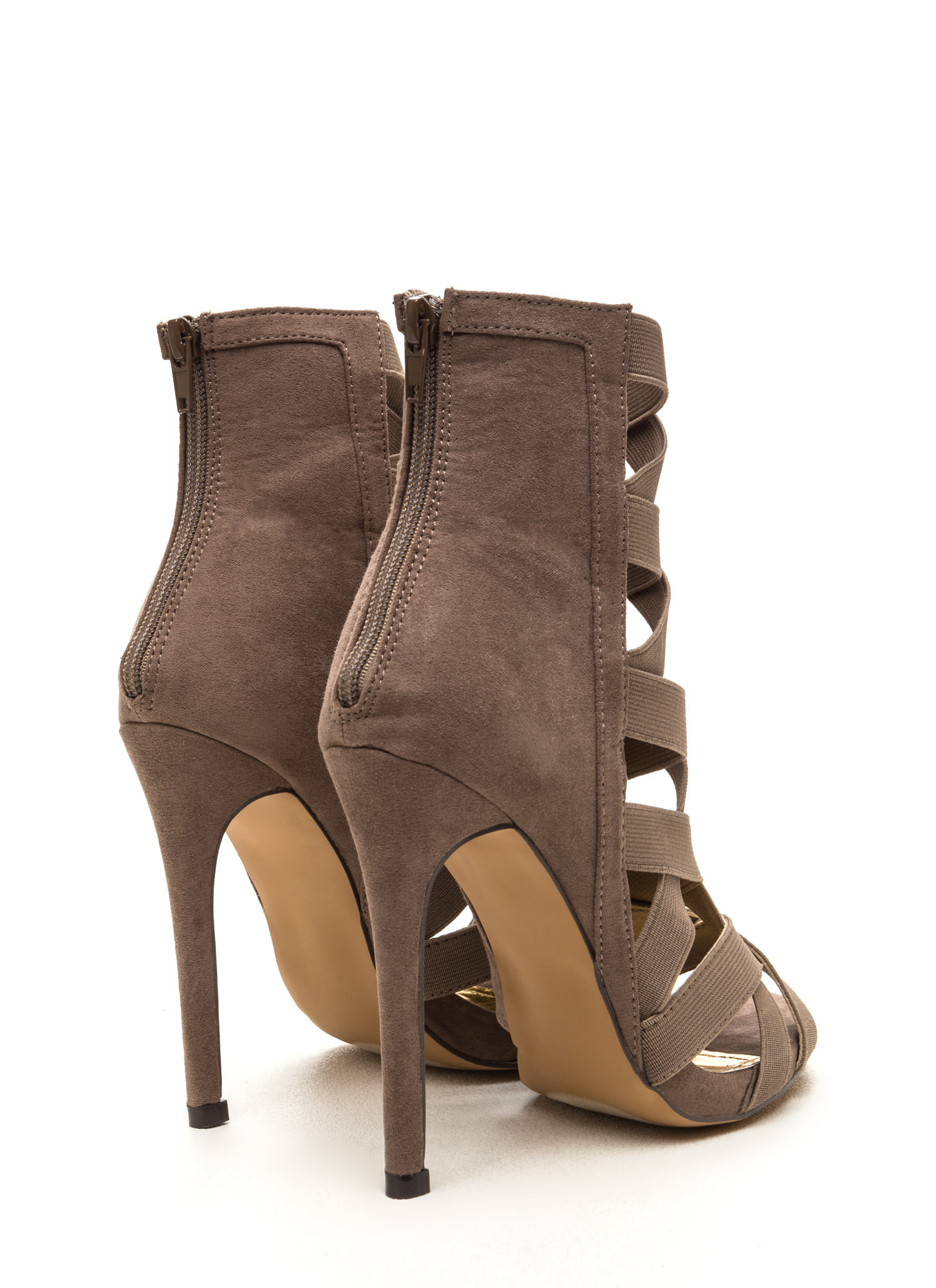 Night Life Caged Faux Suede Heels TAUPE