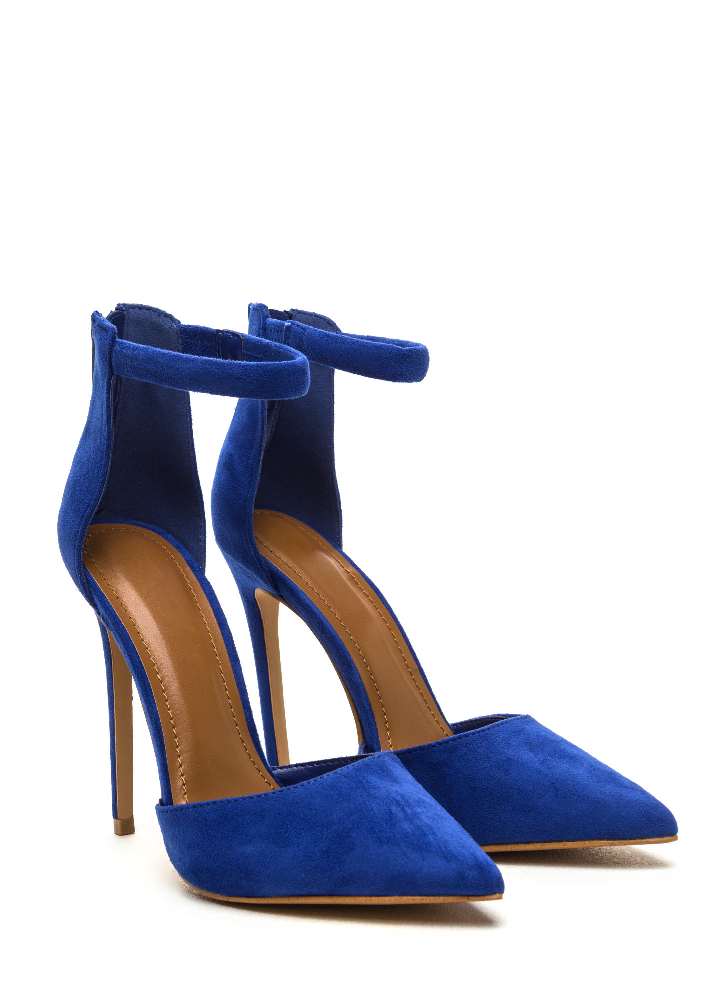 Socialite Style Faux Suede Pointy Heels BLUE