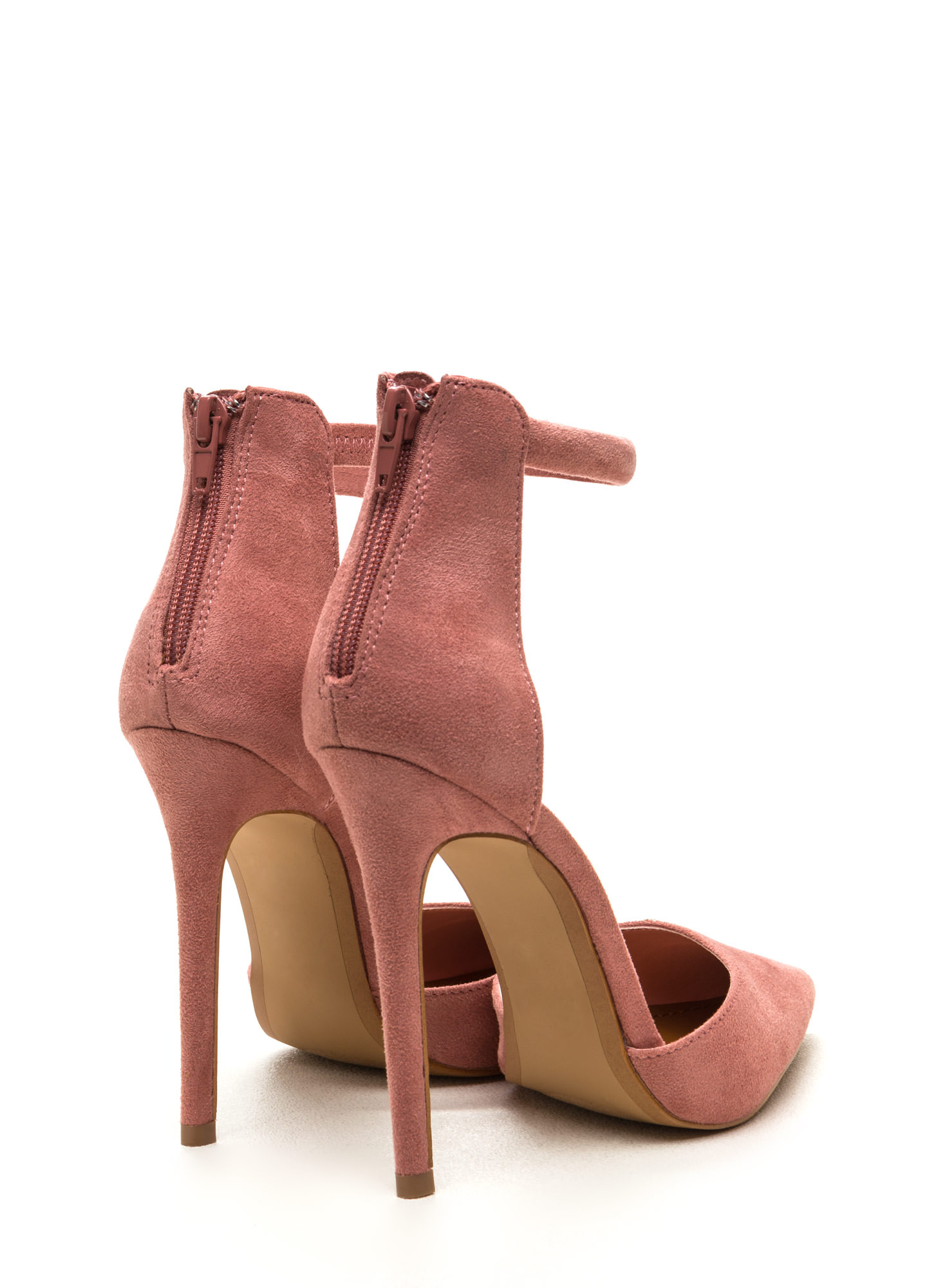 Socialite Style Faux Suede Pointy Heels BLUSH