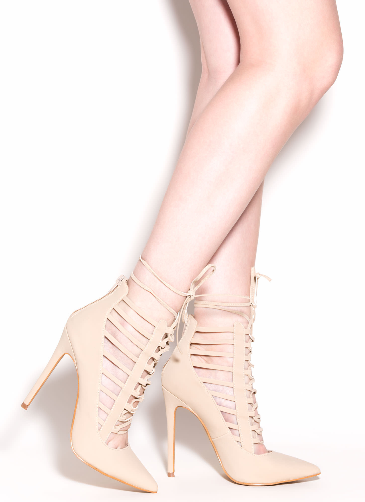 Majorly Chic Faux Nubuck Pointy Heels NUDE