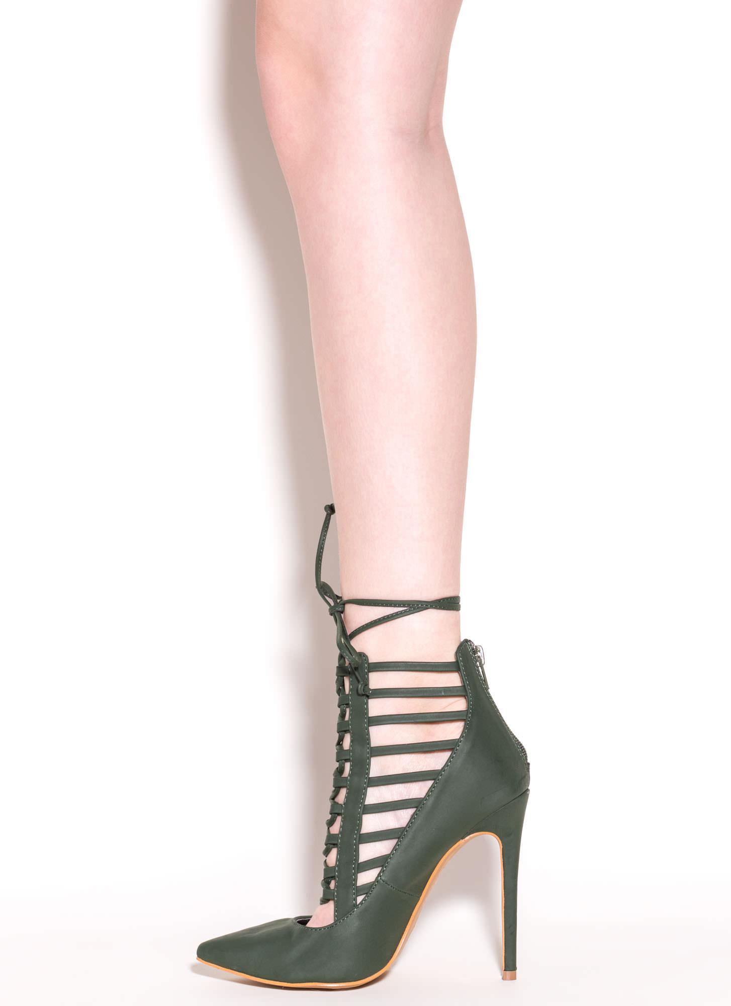 Majorly Chic Faux Nubuck Pointy Heels OLIVE