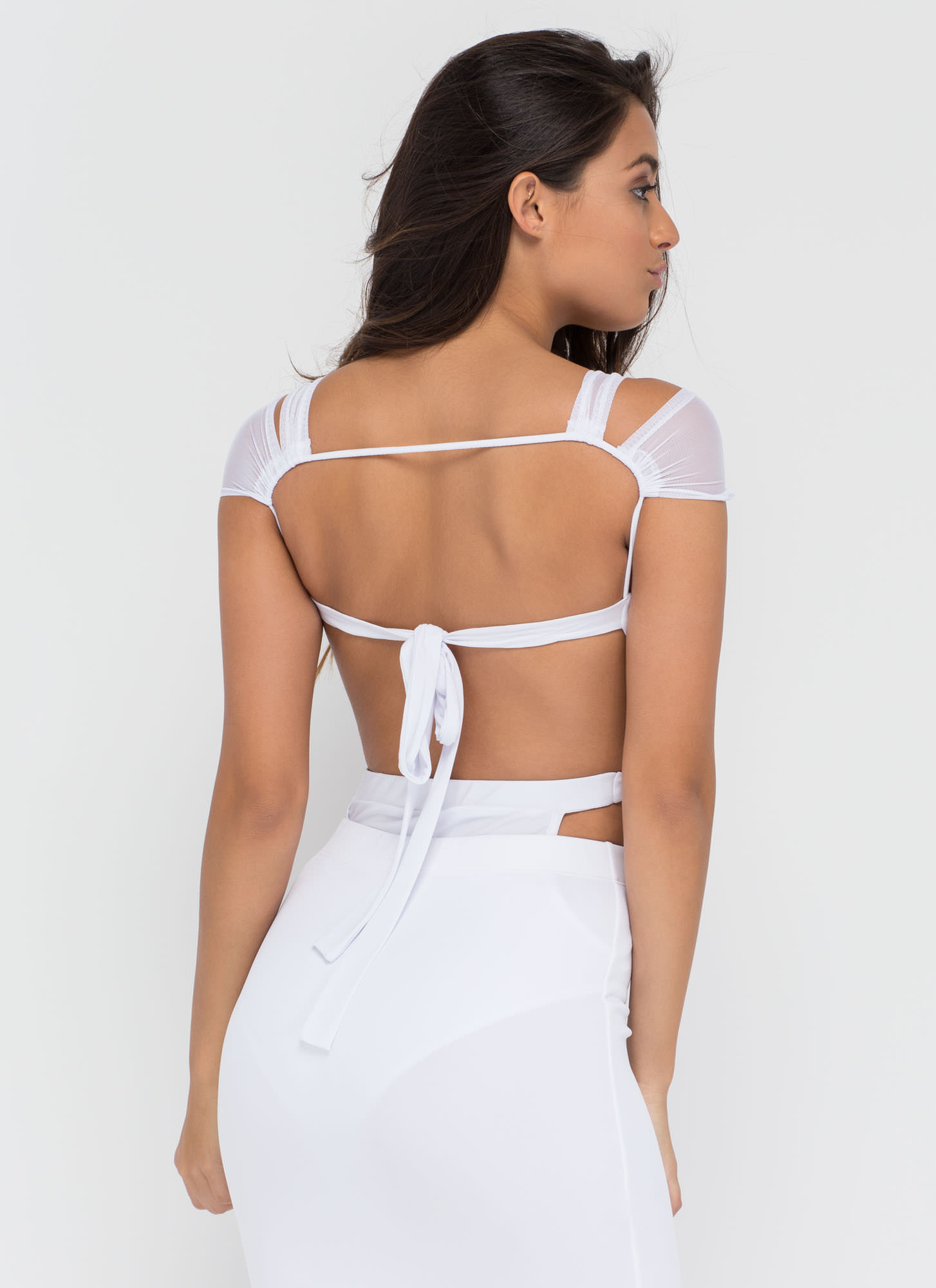 Sheer Brilliance Cut-Out Mesh Bodysuit WHITE