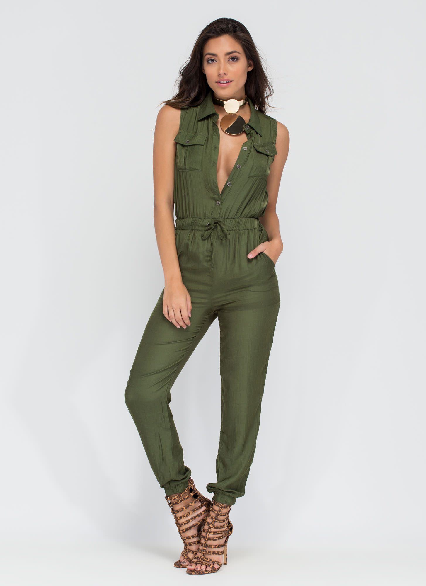 Work Or Play Collared Jumpsuit OLIVE