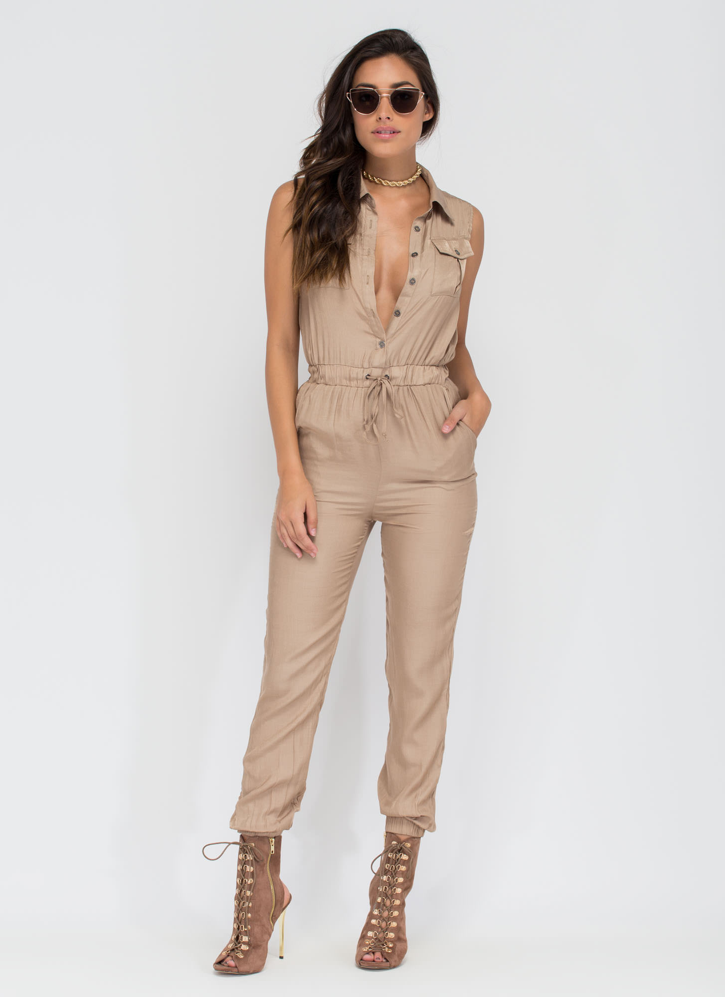 Work Or Play Collared Jumpsuit TAUPE