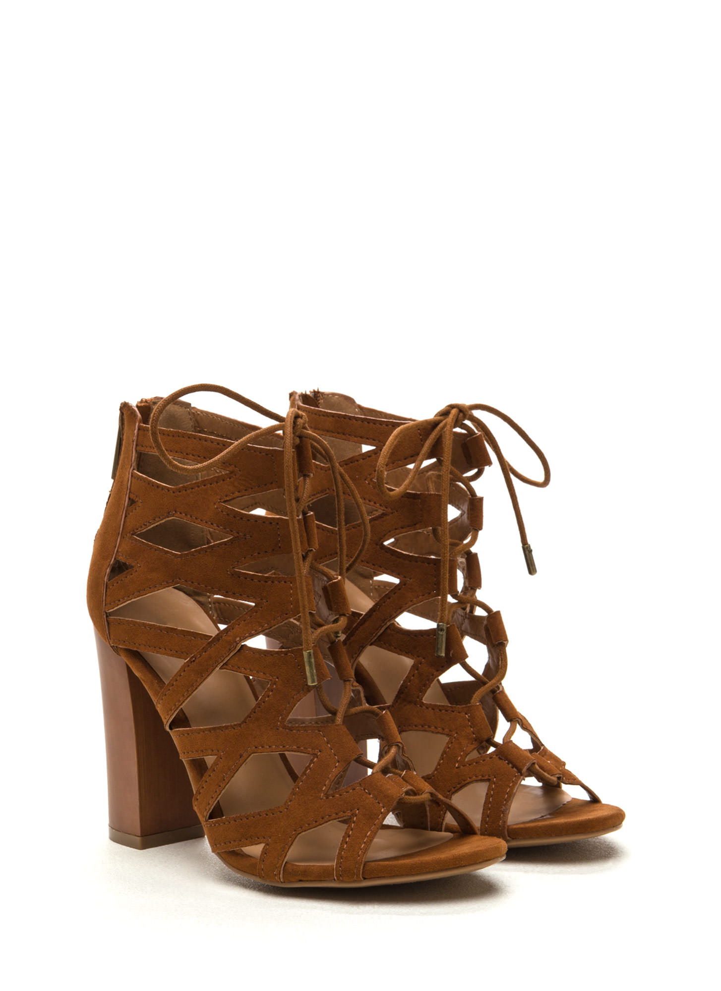 X-Laced Chunky Faux Suede Heels CHESTNUT