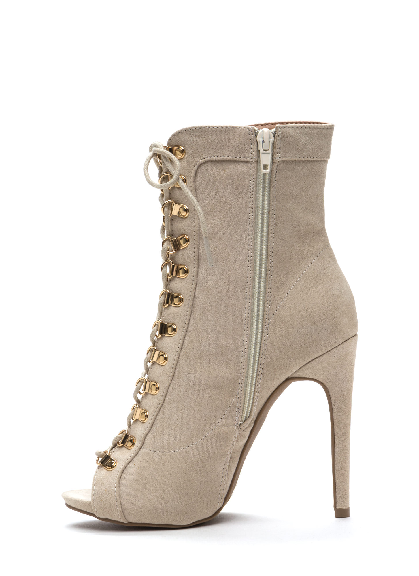 Never Fear Faux Suede Lace-Up Booties STONE