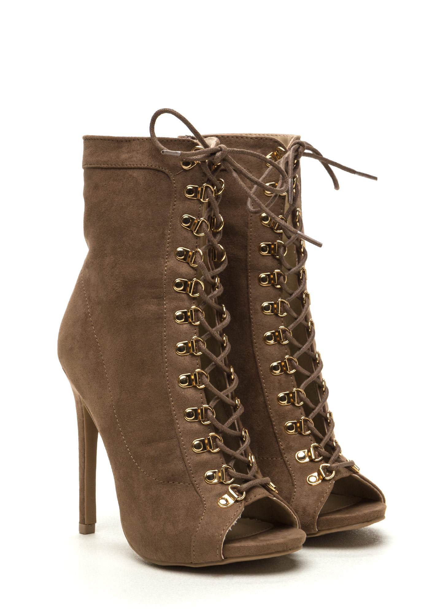 Never Fear Faux Suede Lace-Up Booties TAUPE