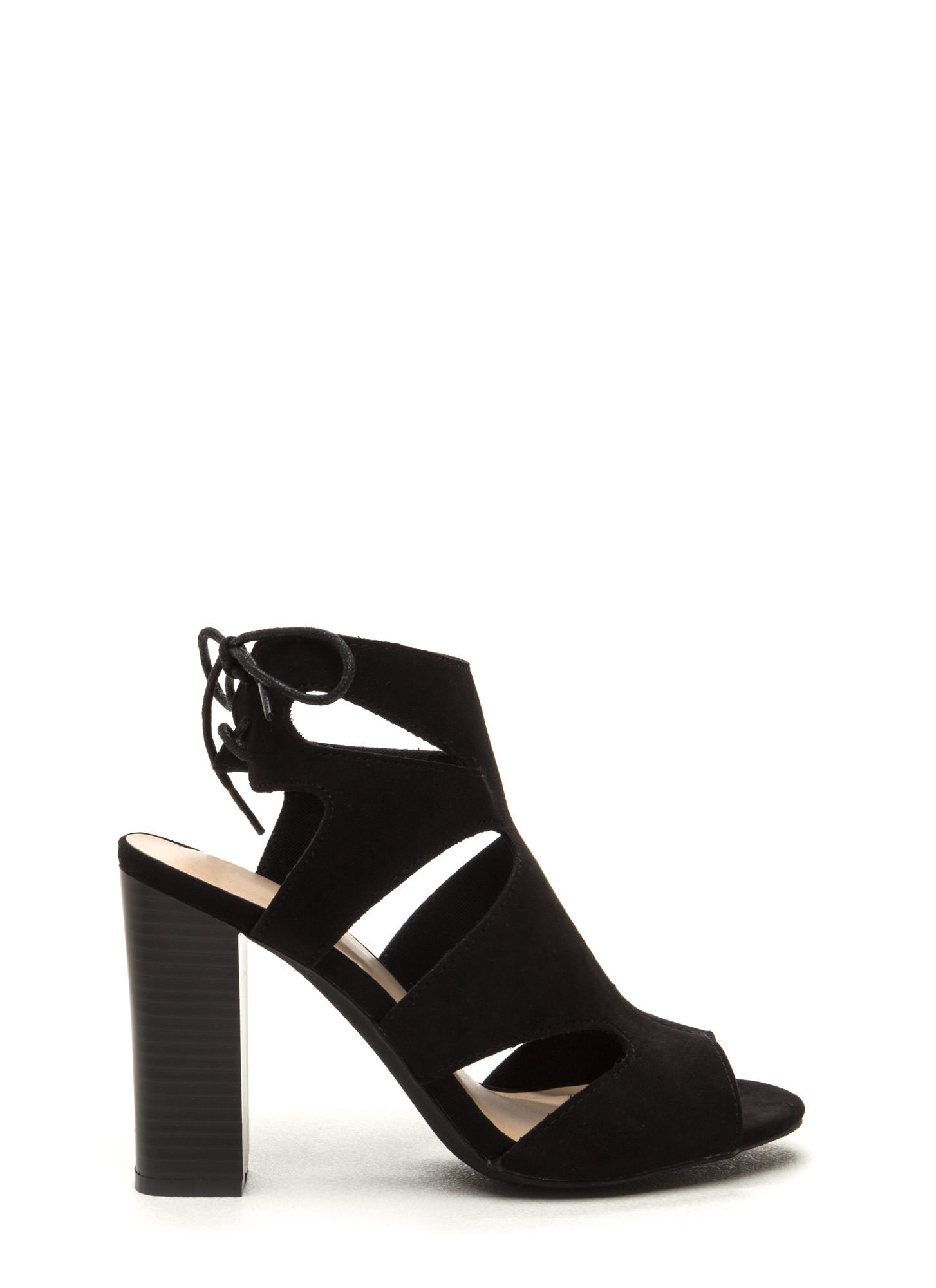 Step It Up Faux Suede Caged Heels BLACK