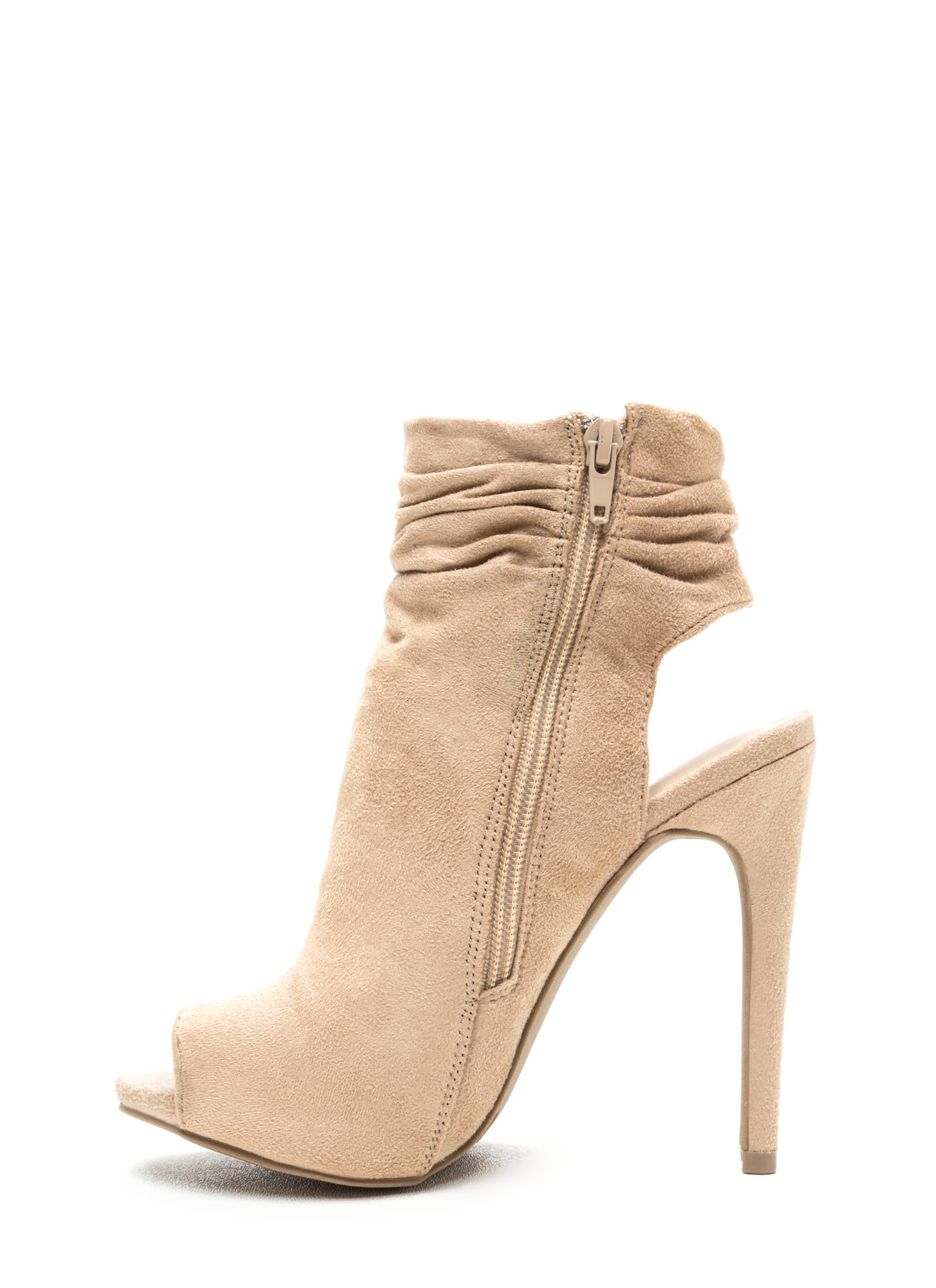Undeniable Style Faux Suede Booties NATURAL