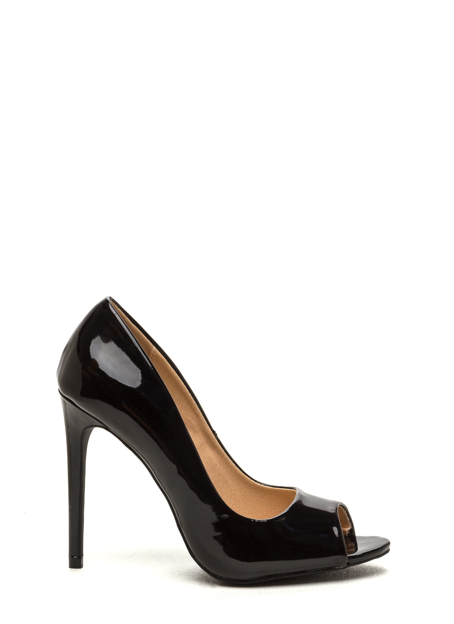 Peep Show Faux Patent Leather Pumps BLACK