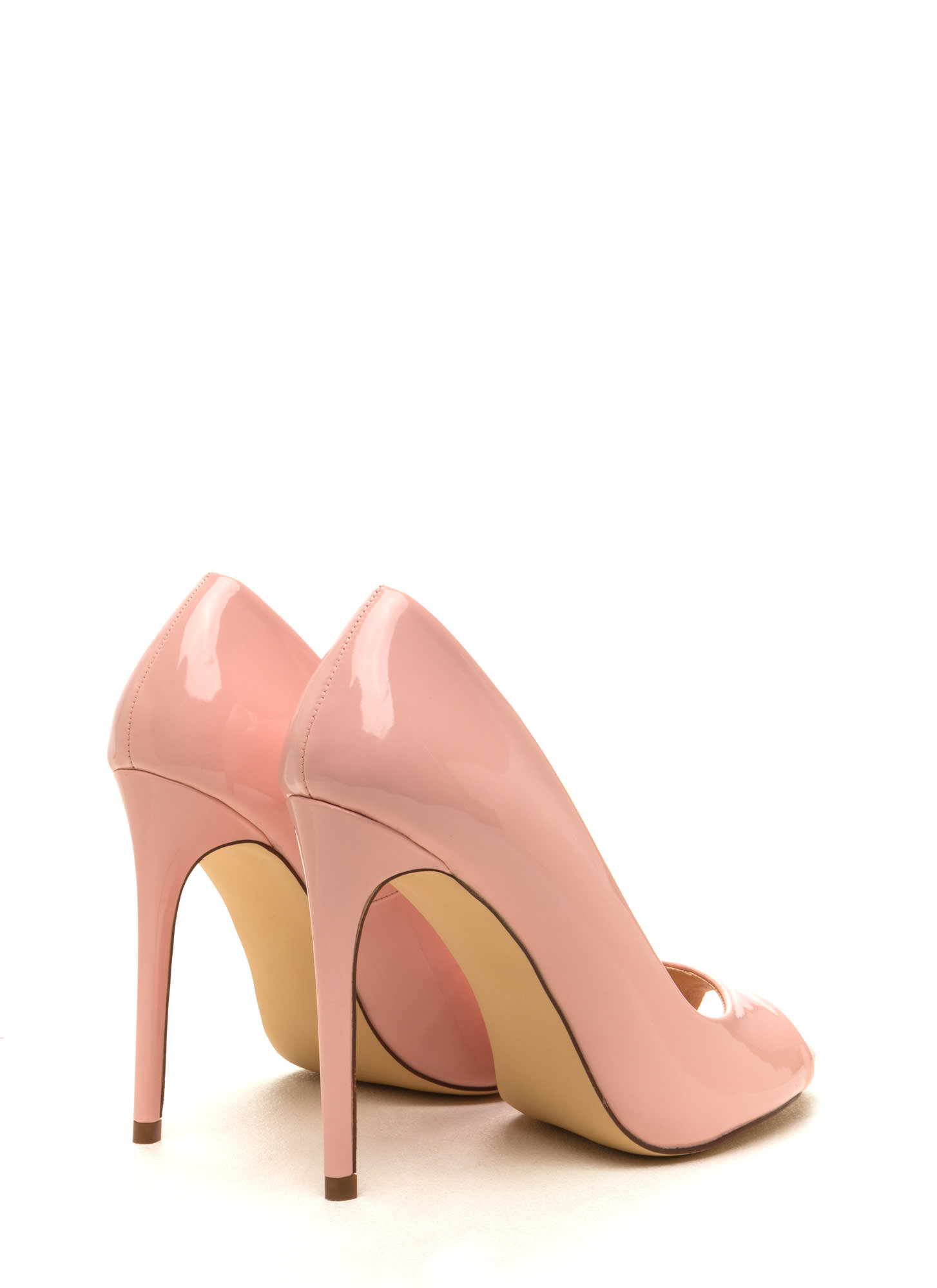 Peep Show Faux Patent Leather Pumps BLUSH