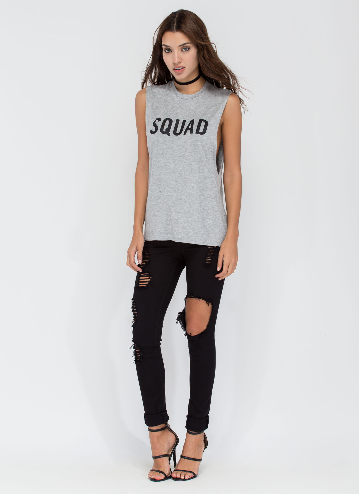 Squad Goals Muscle Tank HGREY