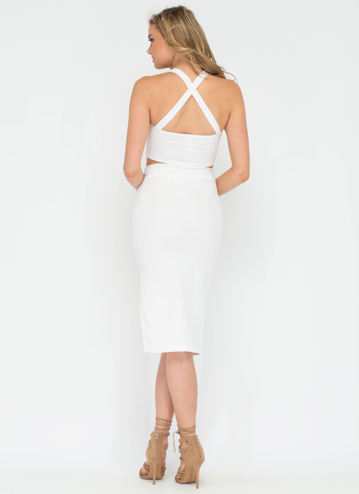 Need Some Space Dye Two-Piece Dress WHITE