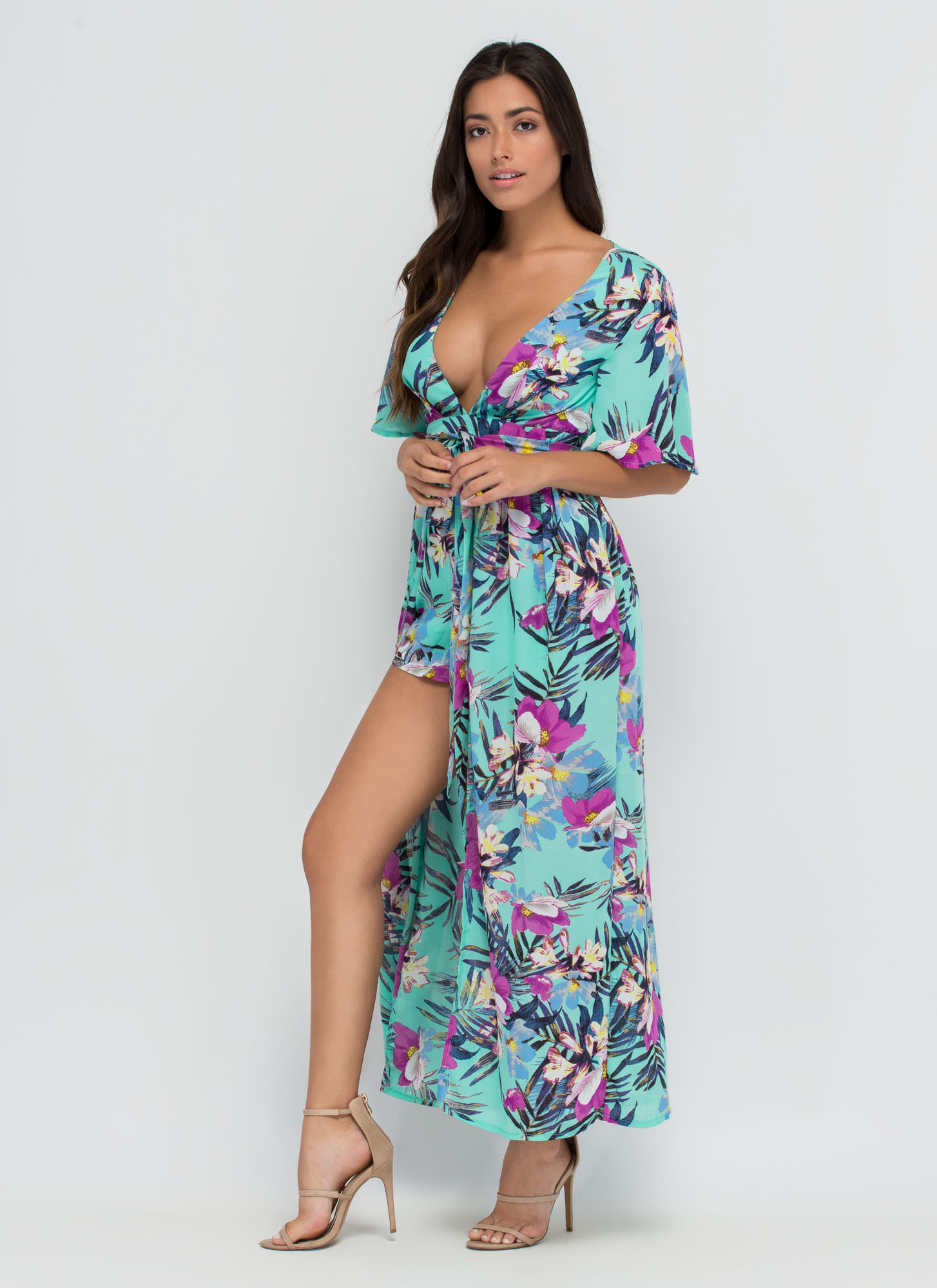 Aloha Paradise Plunging Floral Maxi MINT