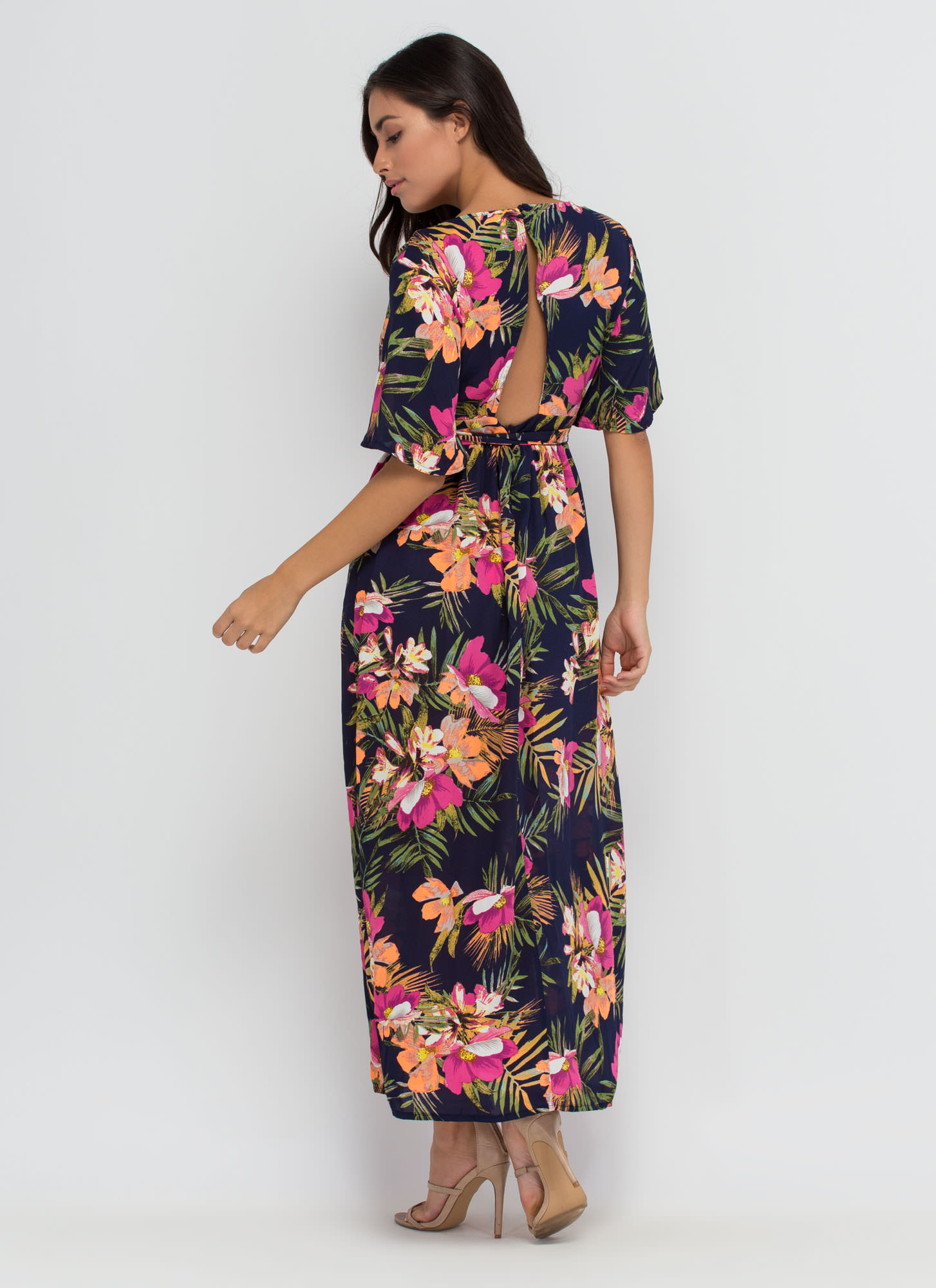 Aloha Paradise Plunging Floral Maxi NAVY