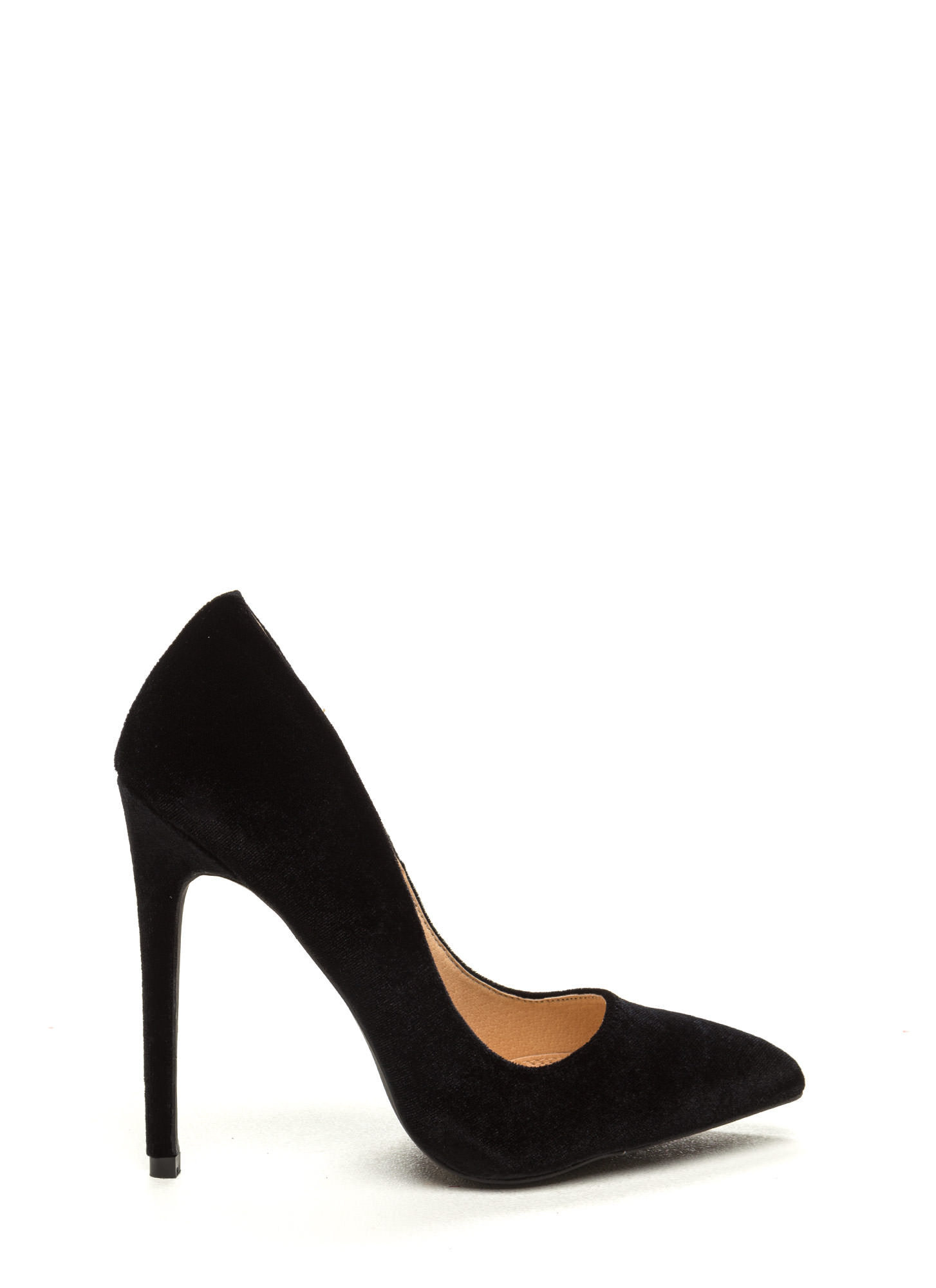 Head To Toe Pointed Velvet Pumps BLACK