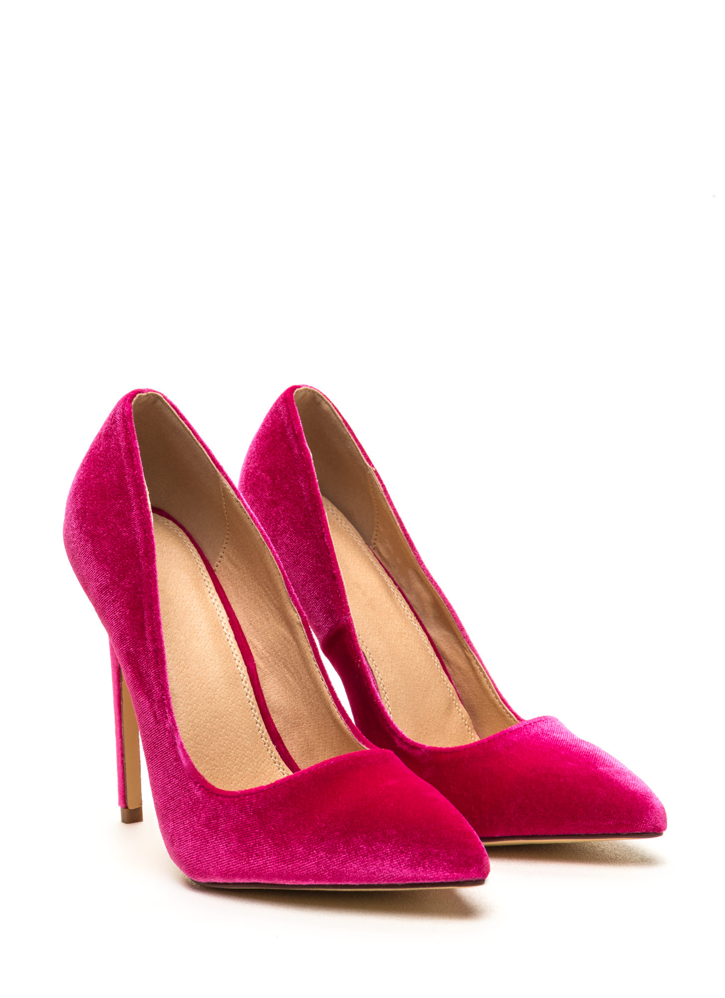 Head To Toe Pointed Velvet Pumps FUCHSIA