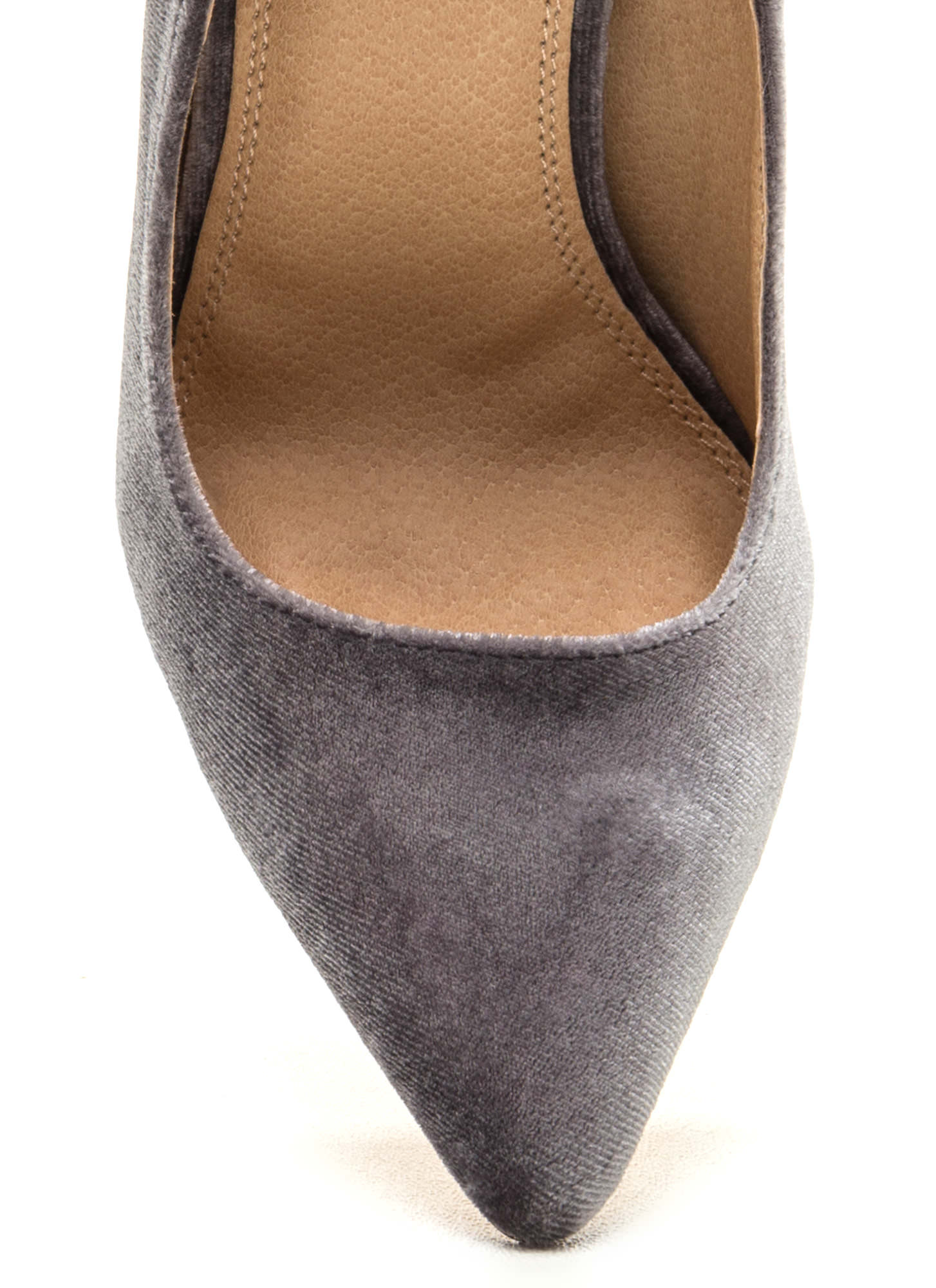 Head To Toe Pointed Velvet Pumps GREY