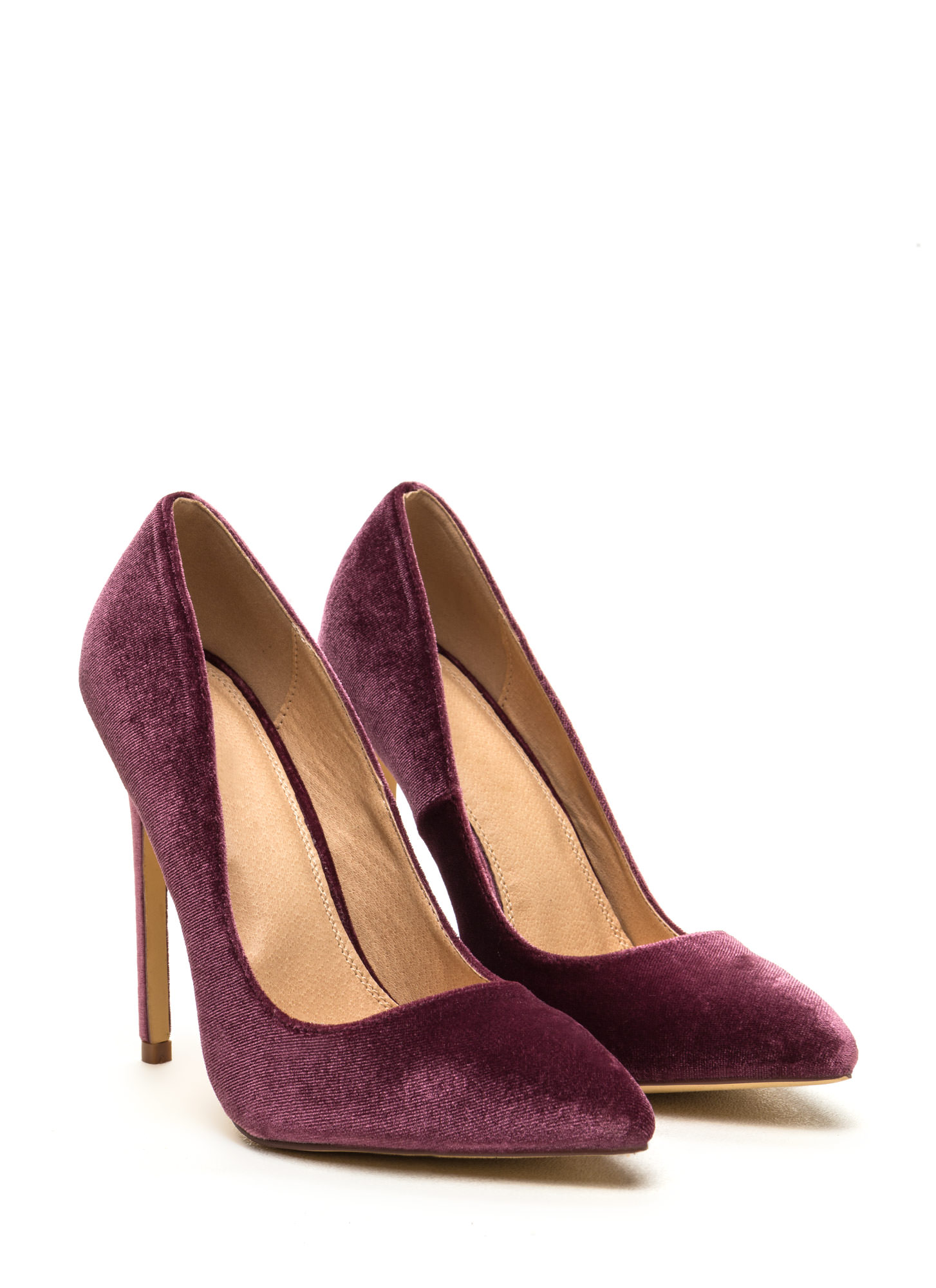 Head To Toe Pointed Velvet Pumps MAUVE