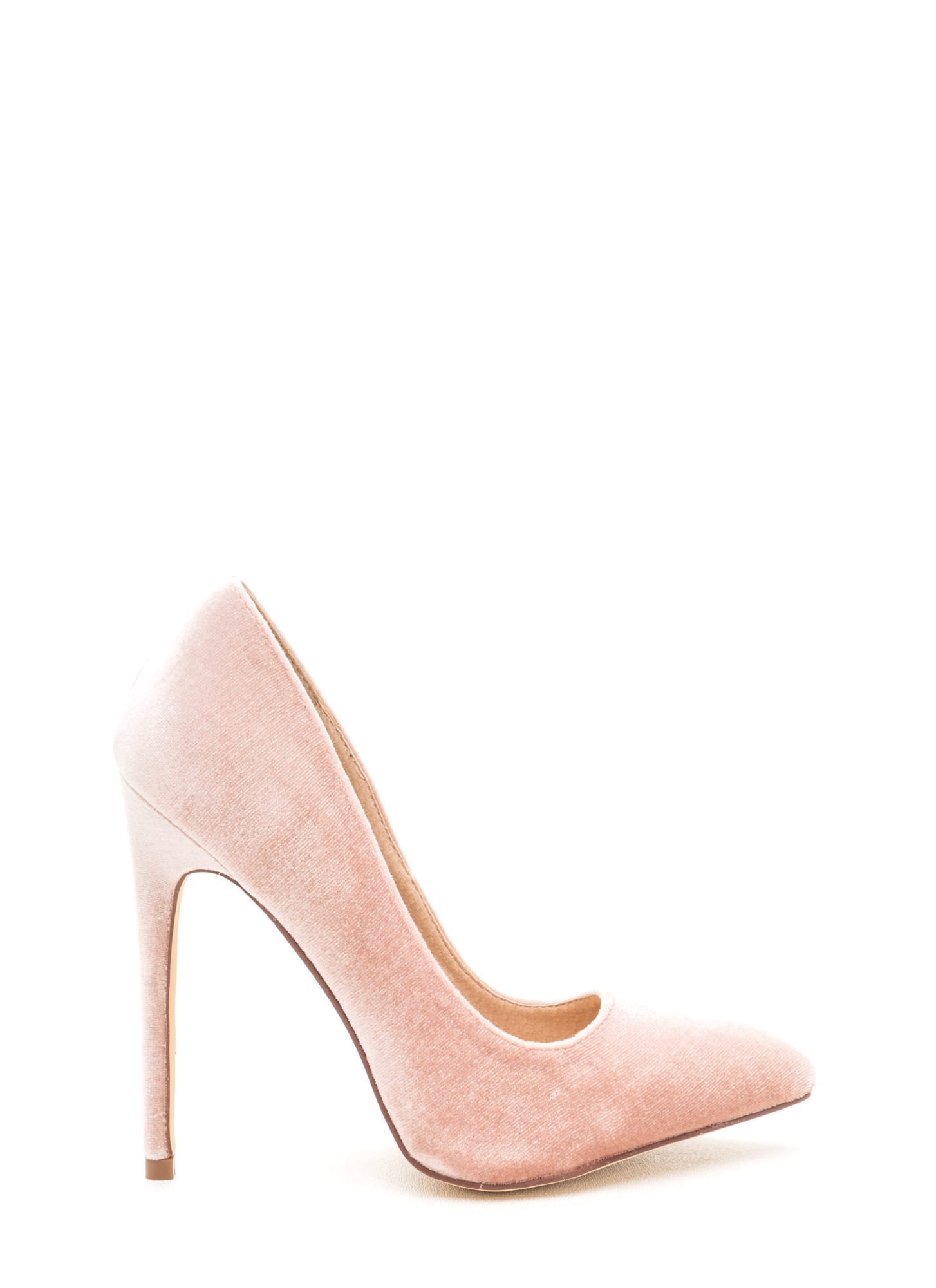 Head To Toe Pointed Velvet Pumps NUDE