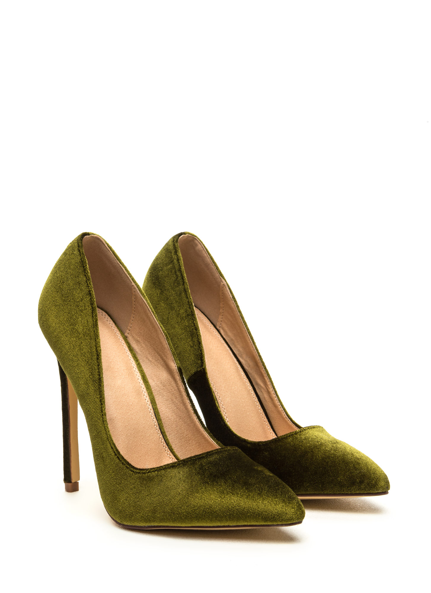 Head To Toe Pointed Velvet Pumps OLIVE