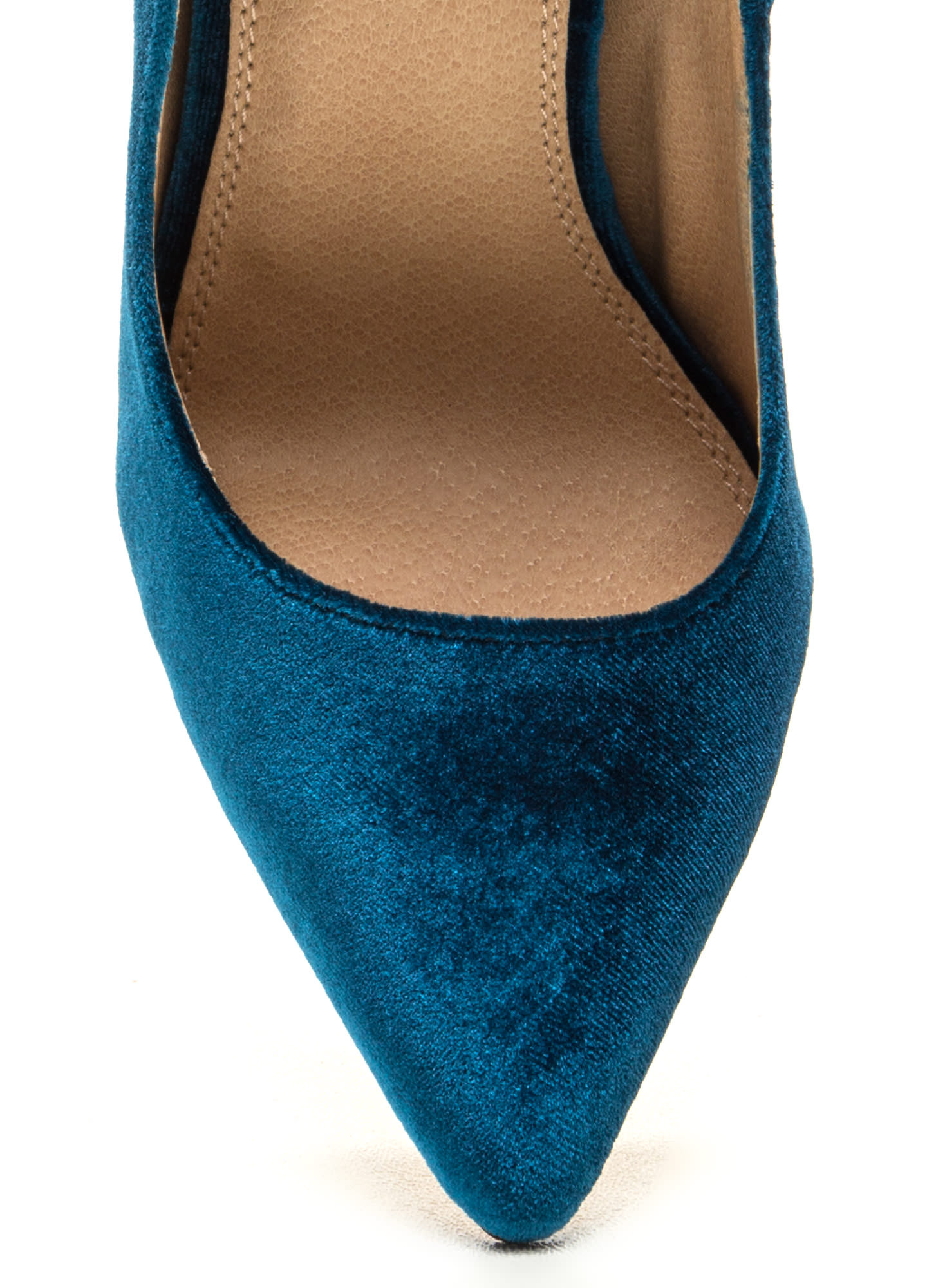 Head To Toe Pointed Velvet Pumps TEAL