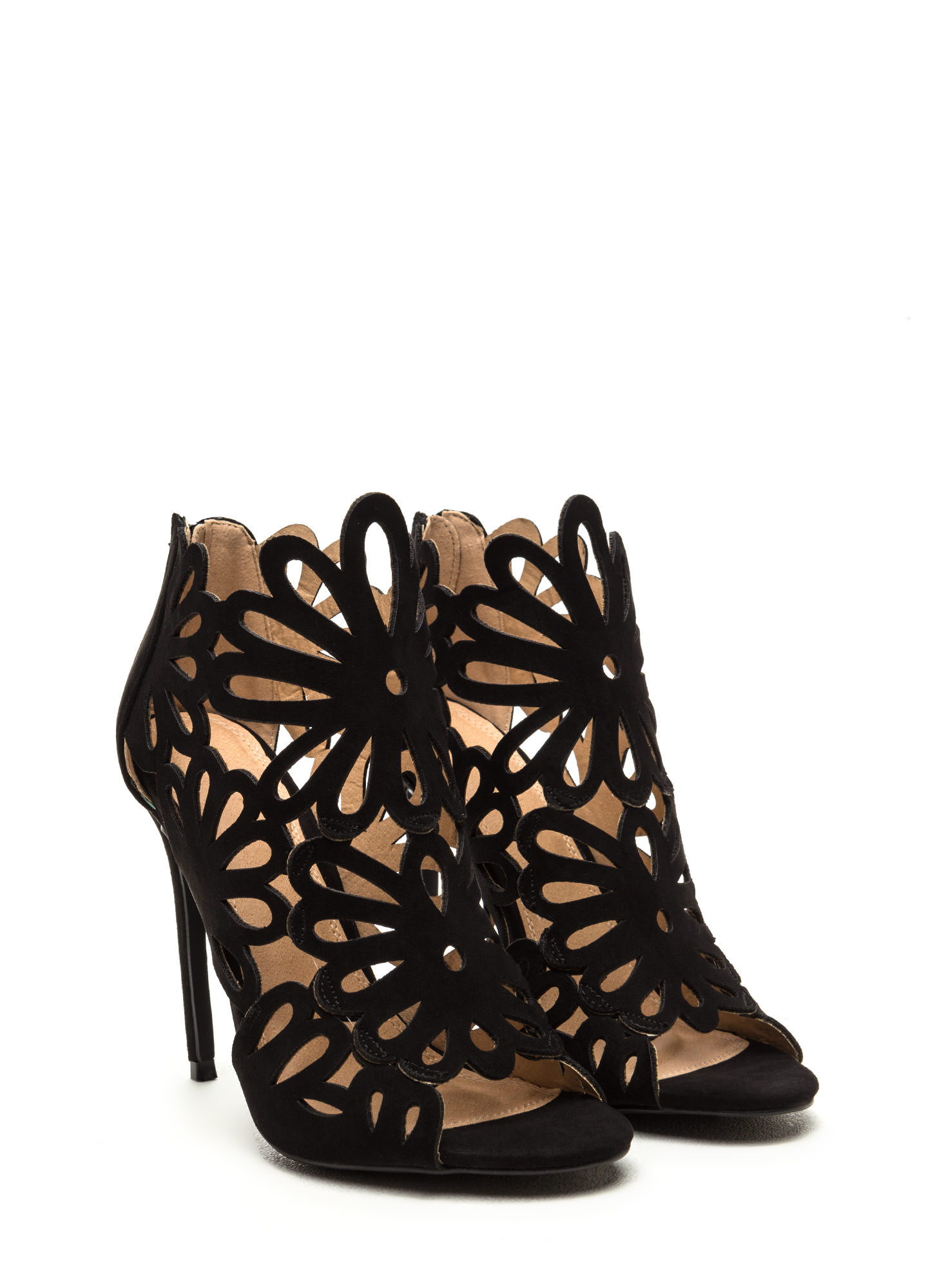 To The Petal Caged Faux Suede Heels BLACK