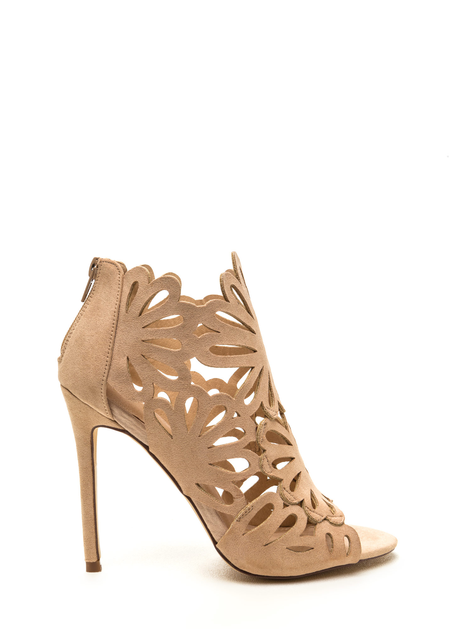 To The Petal Caged Faux Suede Heels NUDE