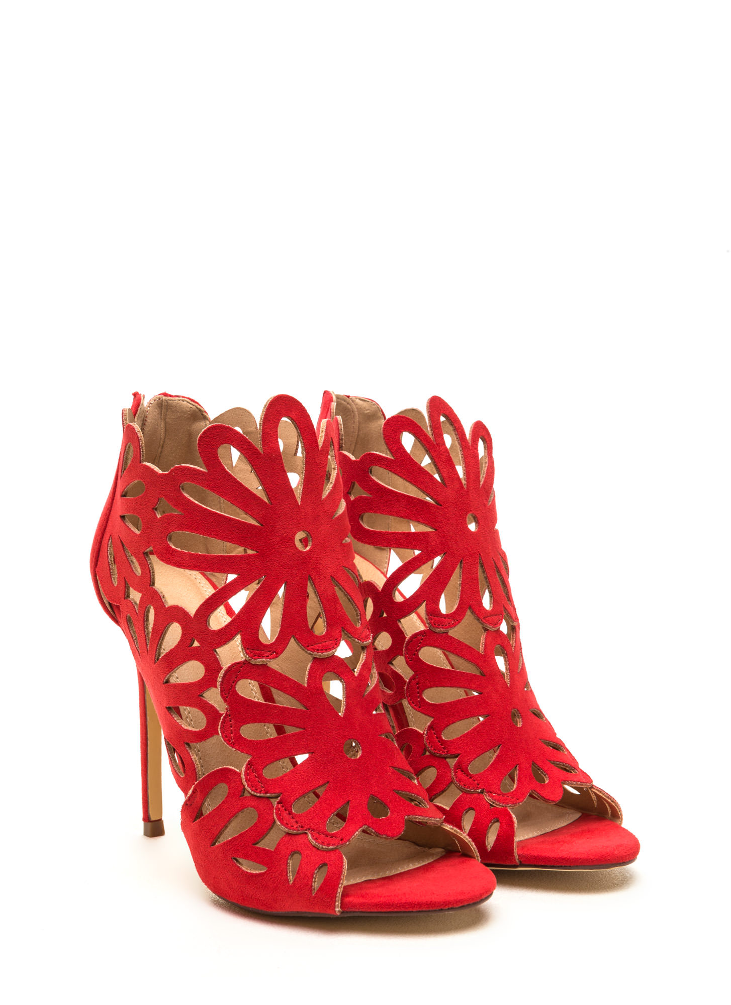 To The Petal Caged Faux Suede Heels RED