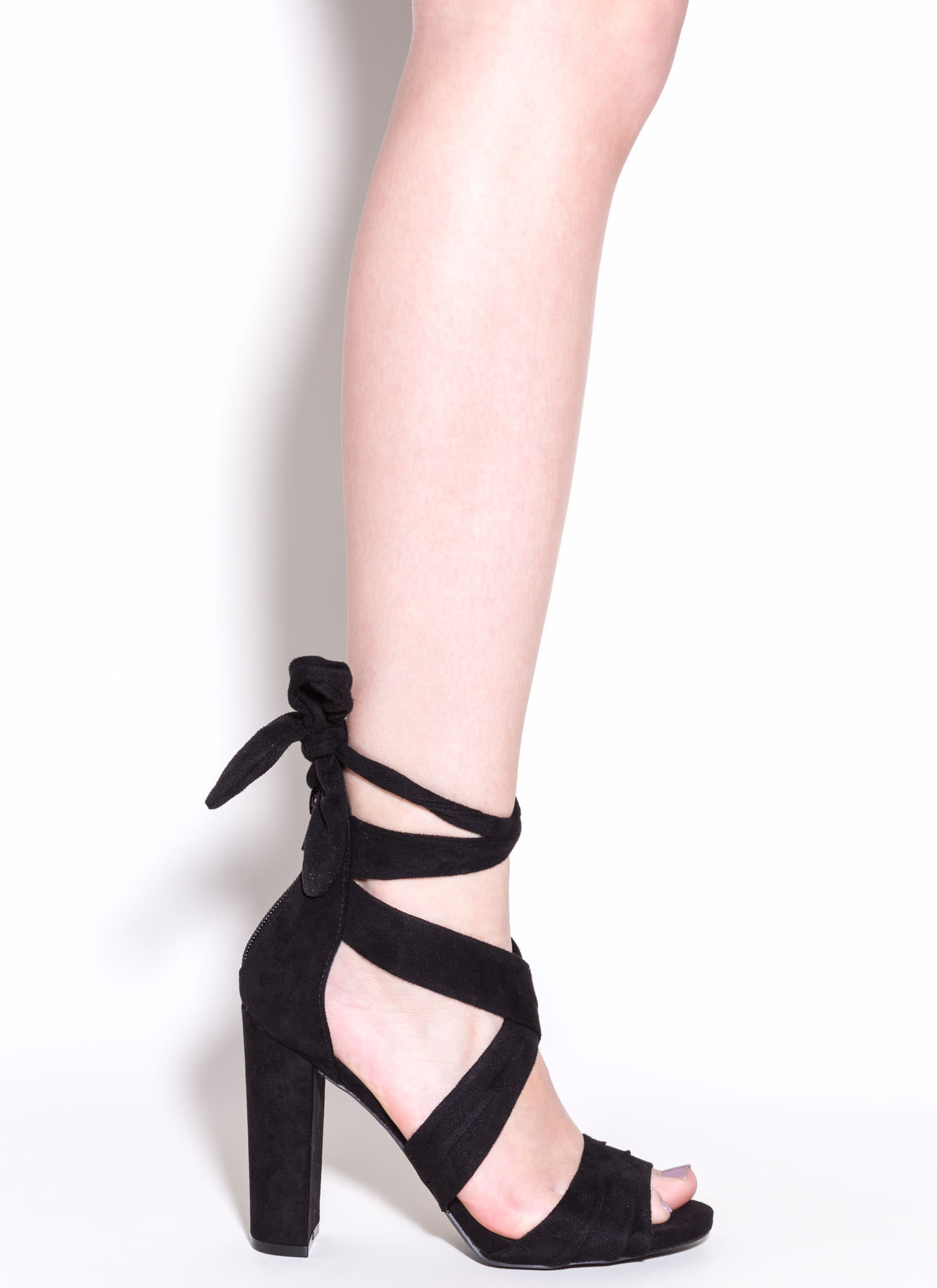 Pleats And Thank You Chunky Heels BLACK