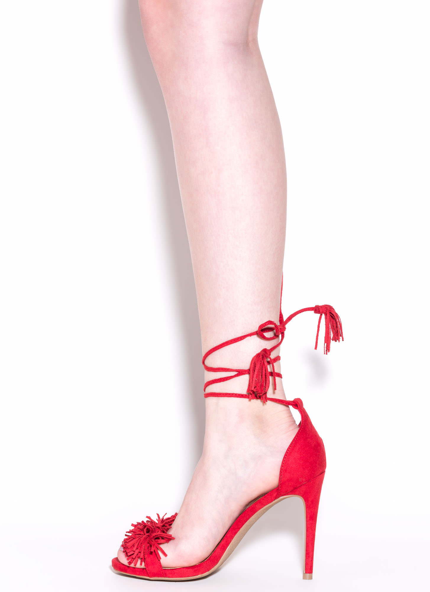 Step Into Fringe Lace-Up Heels RED