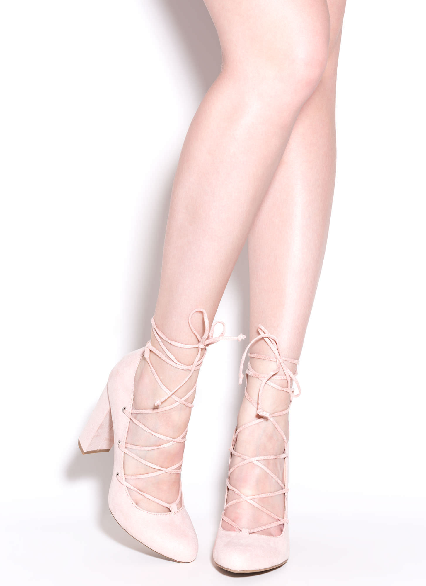 My Feet Are Tied Lace-Up Chunky Pumps NUDE