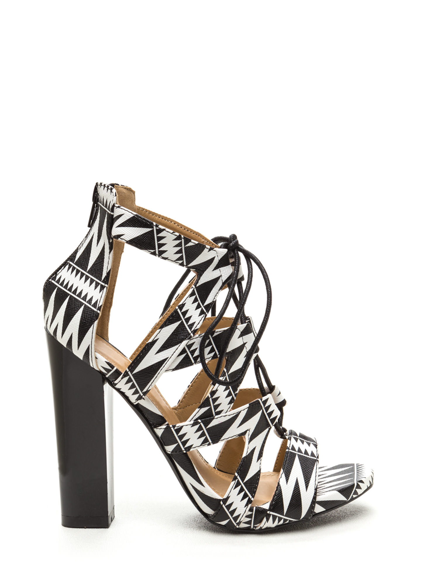 Laced And Infused Chunky Printed Heels BLACK