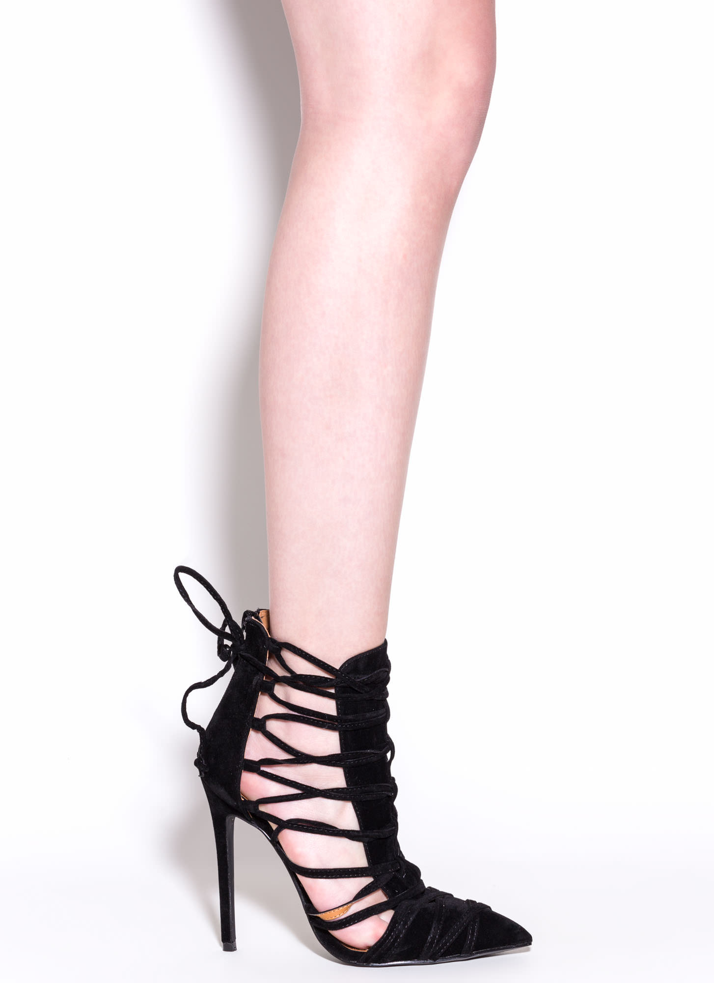 Wrap It Good Pointy Lace-Up Heels BLACK
